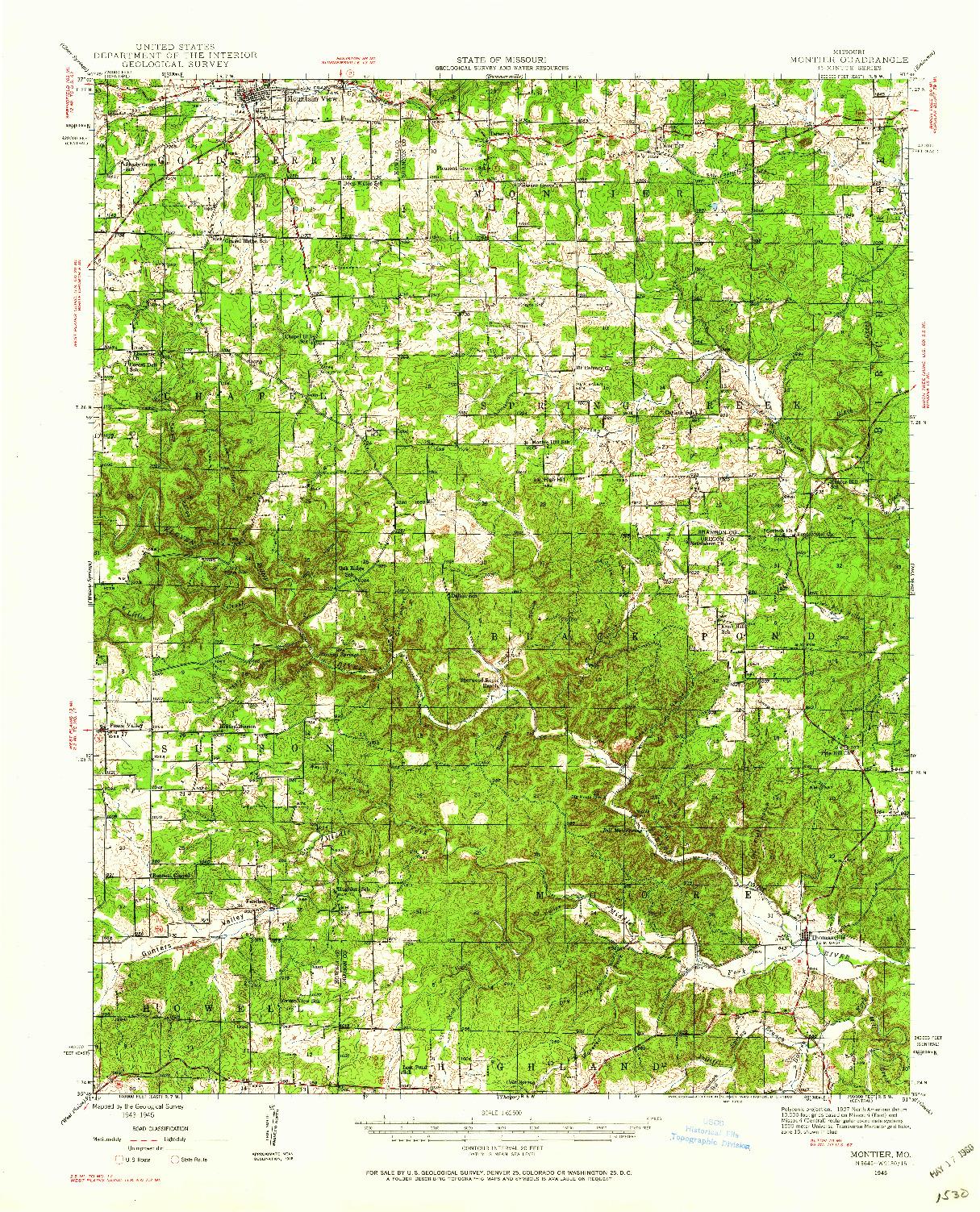 USGS 1:62500-SCALE QUADRANGLE FOR MONTIER, MO 1945