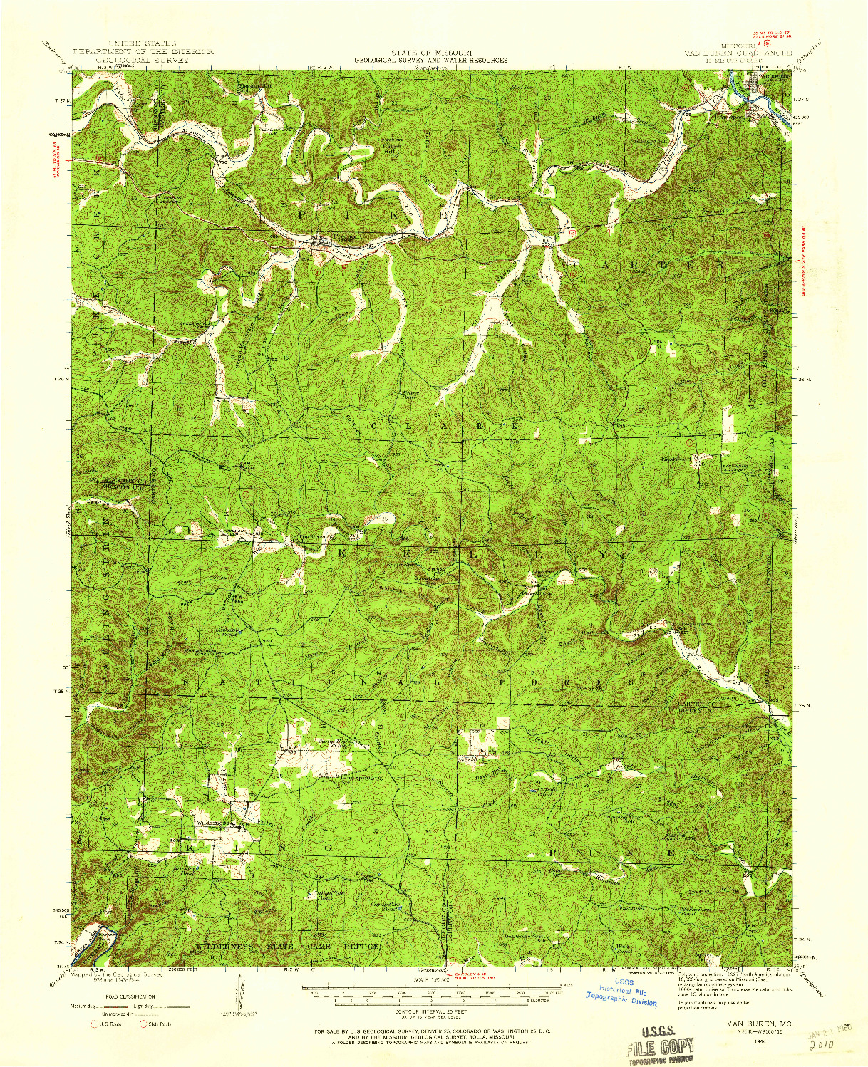 USGS 1:62500-SCALE QUADRANGLE FOR VAN BUREN, MO 1944