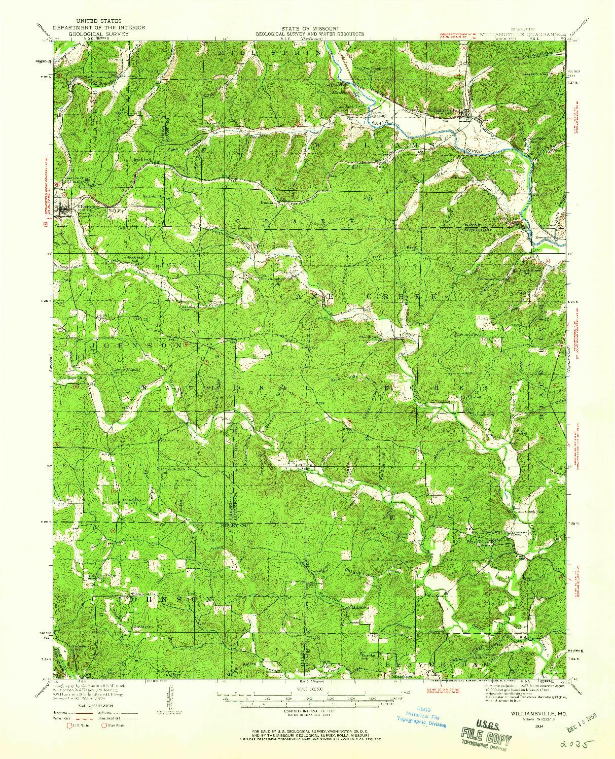 USGS 1:62500-SCALE QUADRANGLE FOR WILLIAMSVILLE, MO 1934