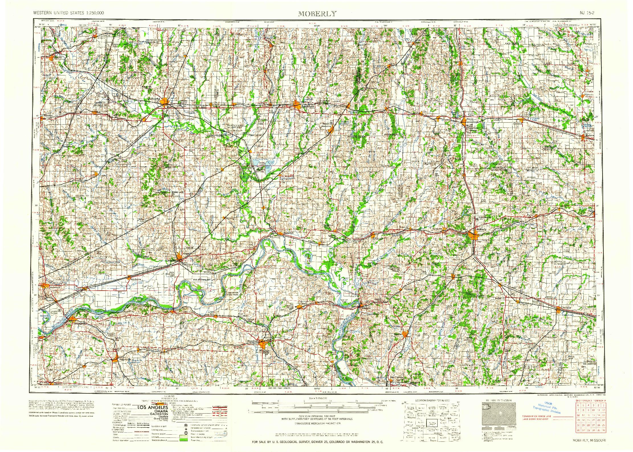 USGS 1:250000-SCALE QUADRANGLE FOR MOBERLY, MO 1960
