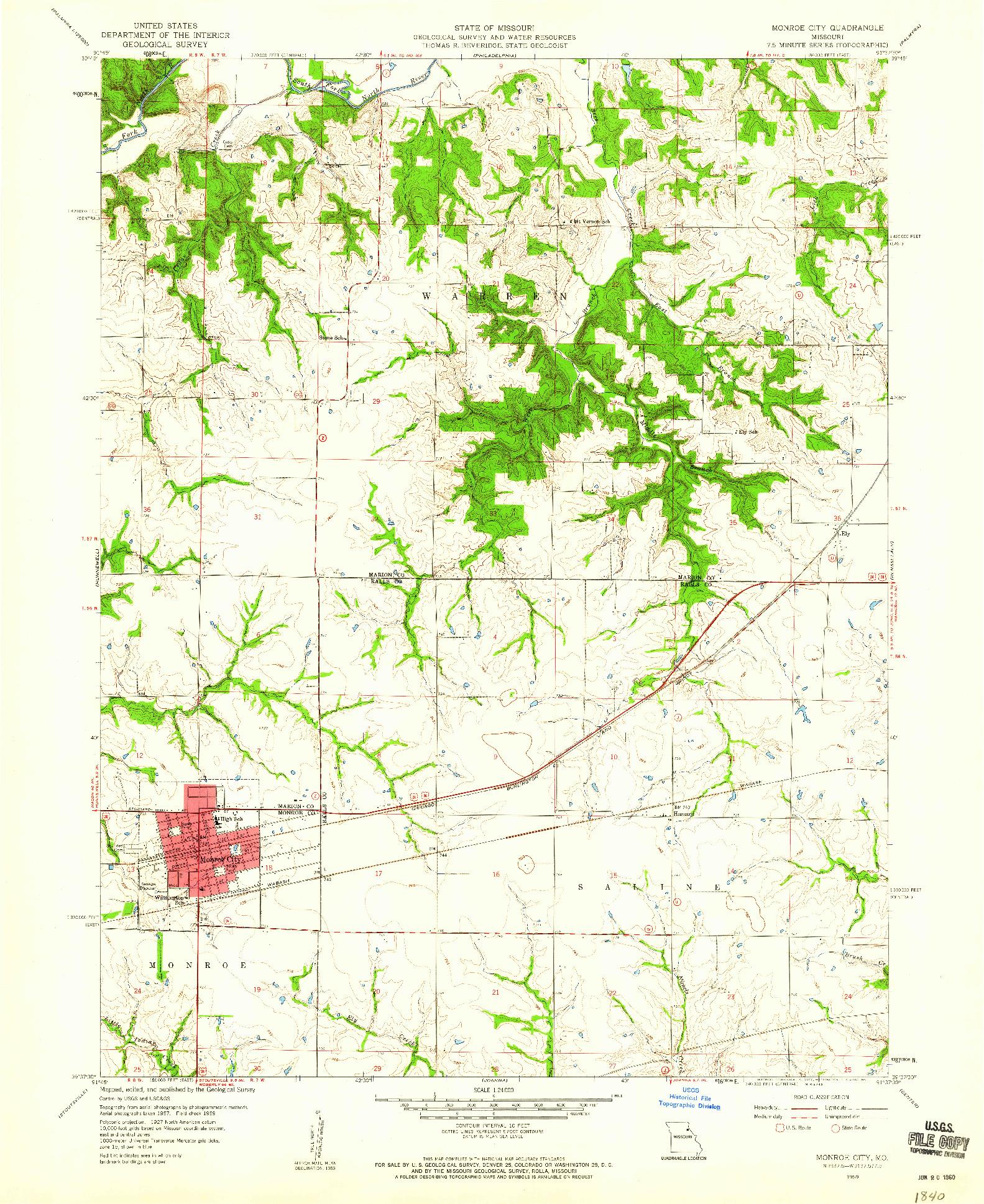 USGS 1:24000-SCALE QUADRANGLE FOR MONROE CITY, MO 1959