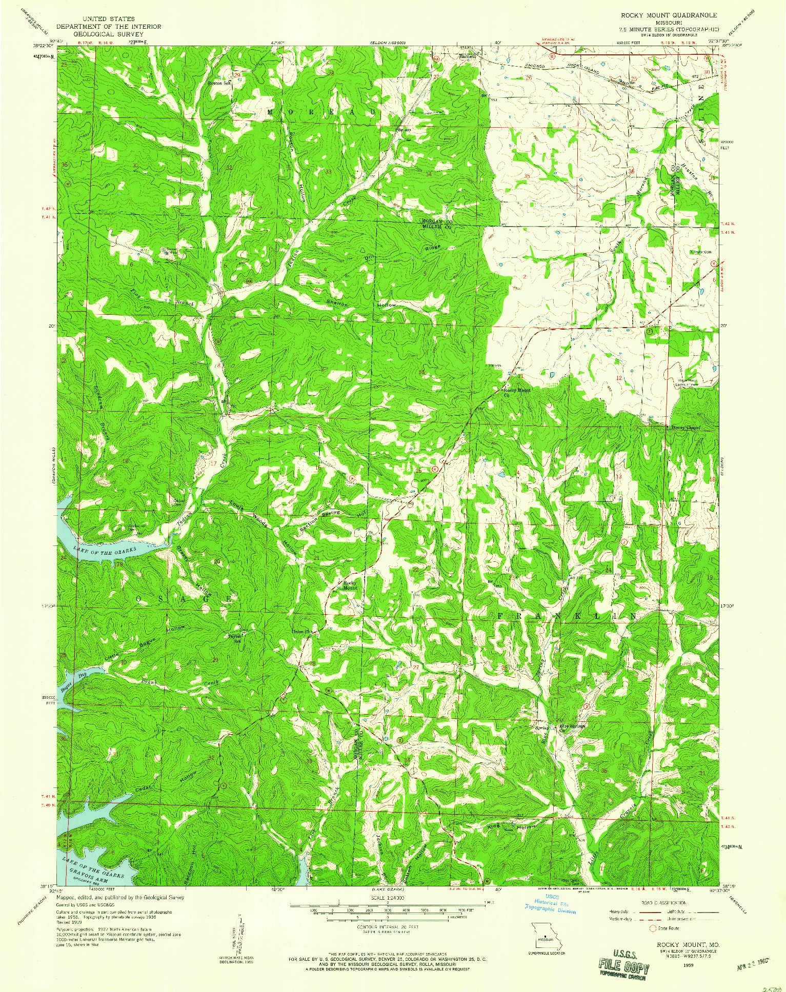 USGS 1:24000-SCALE QUADRANGLE FOR ROCKY MOUNT, MO 1959