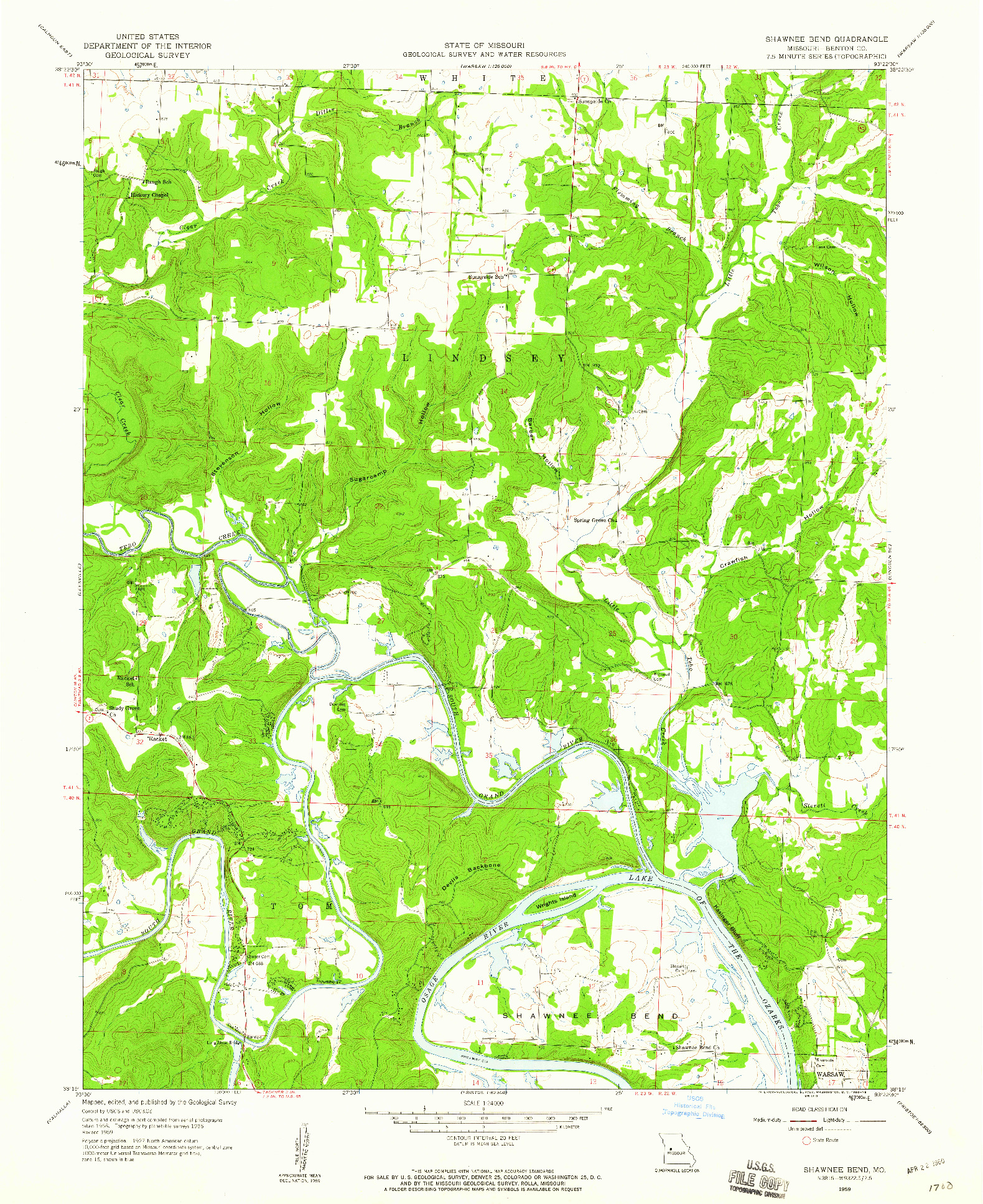 USGS 1:24000-SCALE QUADRANGLE FOR SHAWNEE BEND, MO 1959