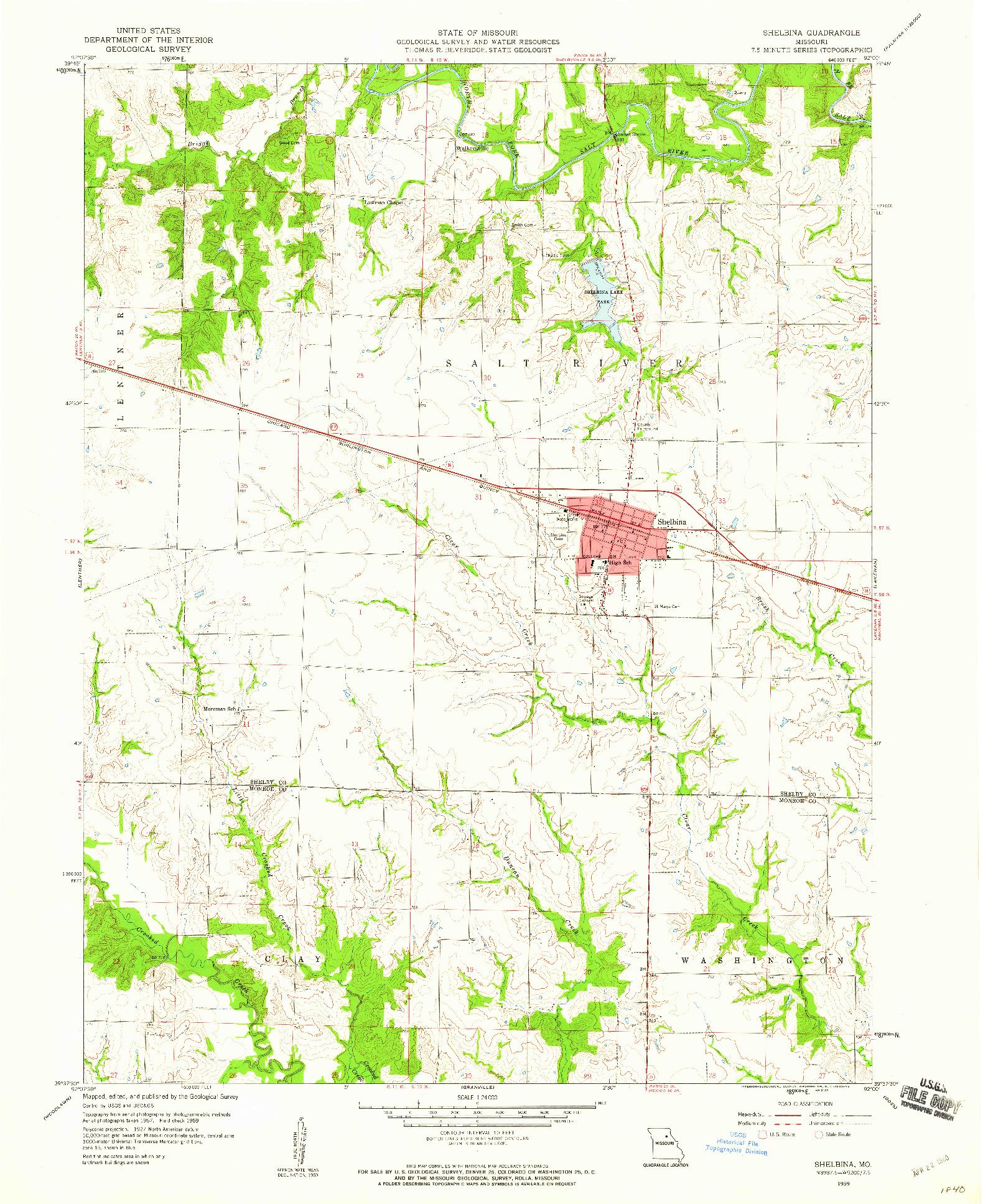 USGS 1:24000-SCALE QUADRANGLE FOR SHELBINA, MO 1959