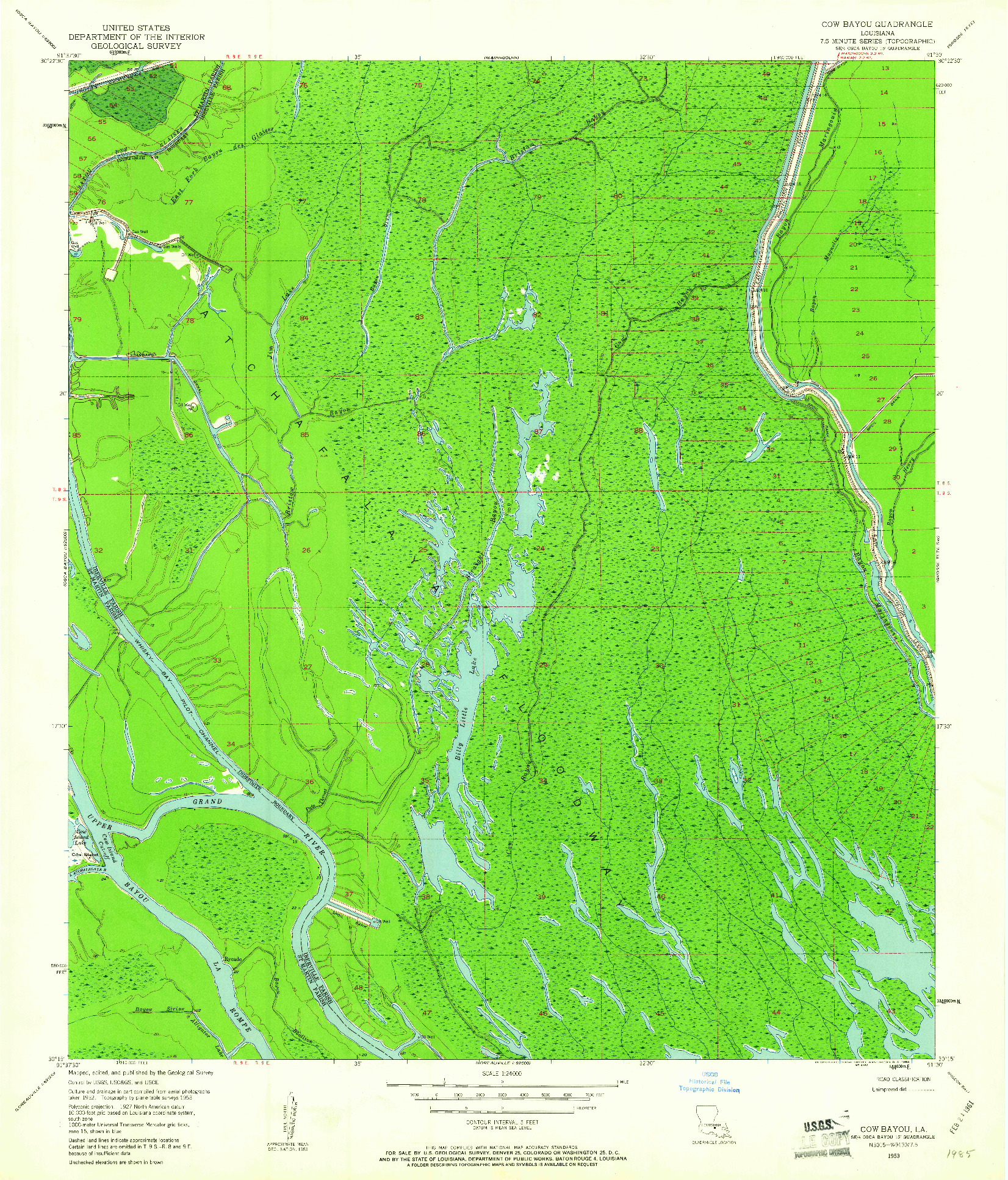 USGS 1:24000-SCALE QUADRANGLE FOR COW BAYOU, LA 1953