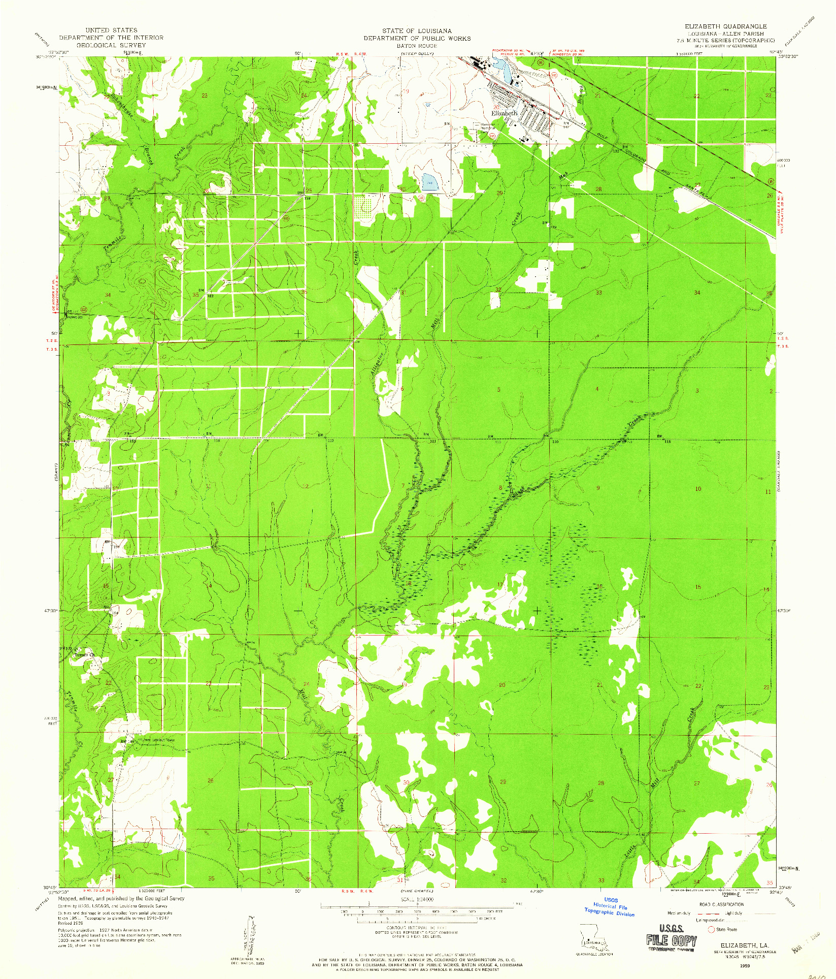 USGS 1:24000-SCALE QUADRANGLE FOR ELIZABETH, LA 1959