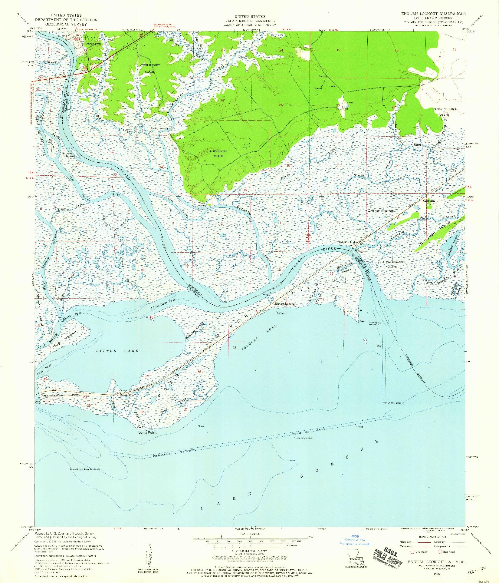 USGS 1:24000-SCALE QUADRANGLE FOR ENGLISH LOOKOUT, LA 1956