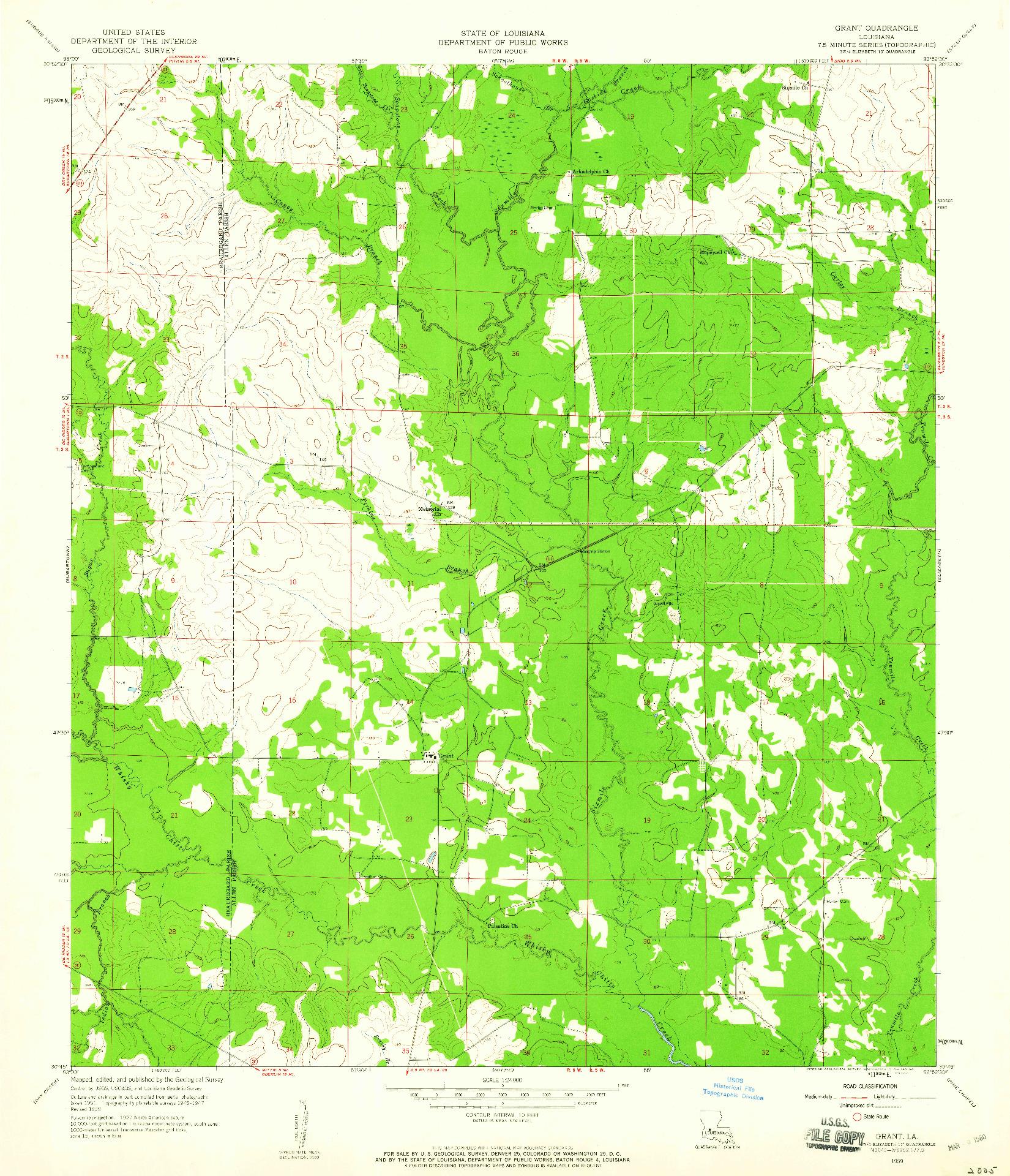 USGS 1:24000-SCALE QUADRANGLE FOR GRANT, LA 1959