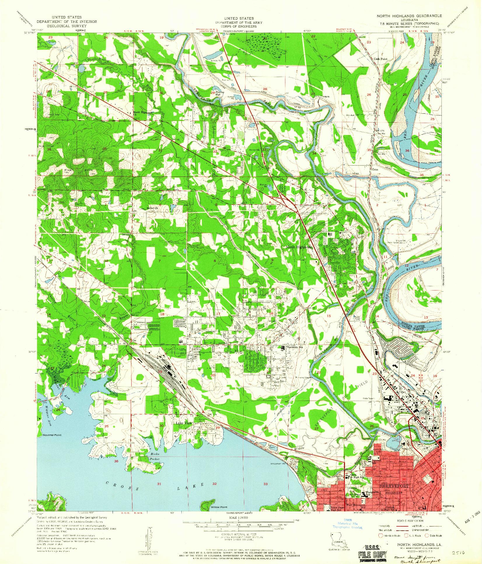 USGS 1:24000-SCALE QUADRANGLE FOR NORTH HIGHLANDS, LA 1960