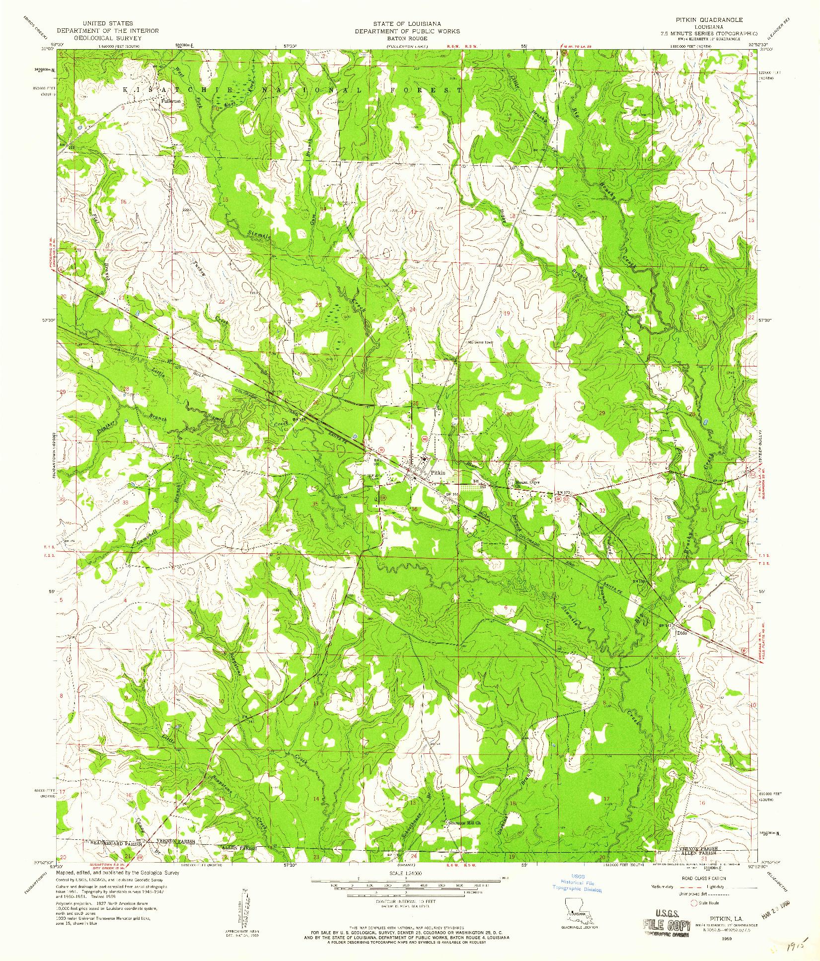 USGS 1:24000-SCALE QUADRANGLE FOR PITKIN, LA 1959