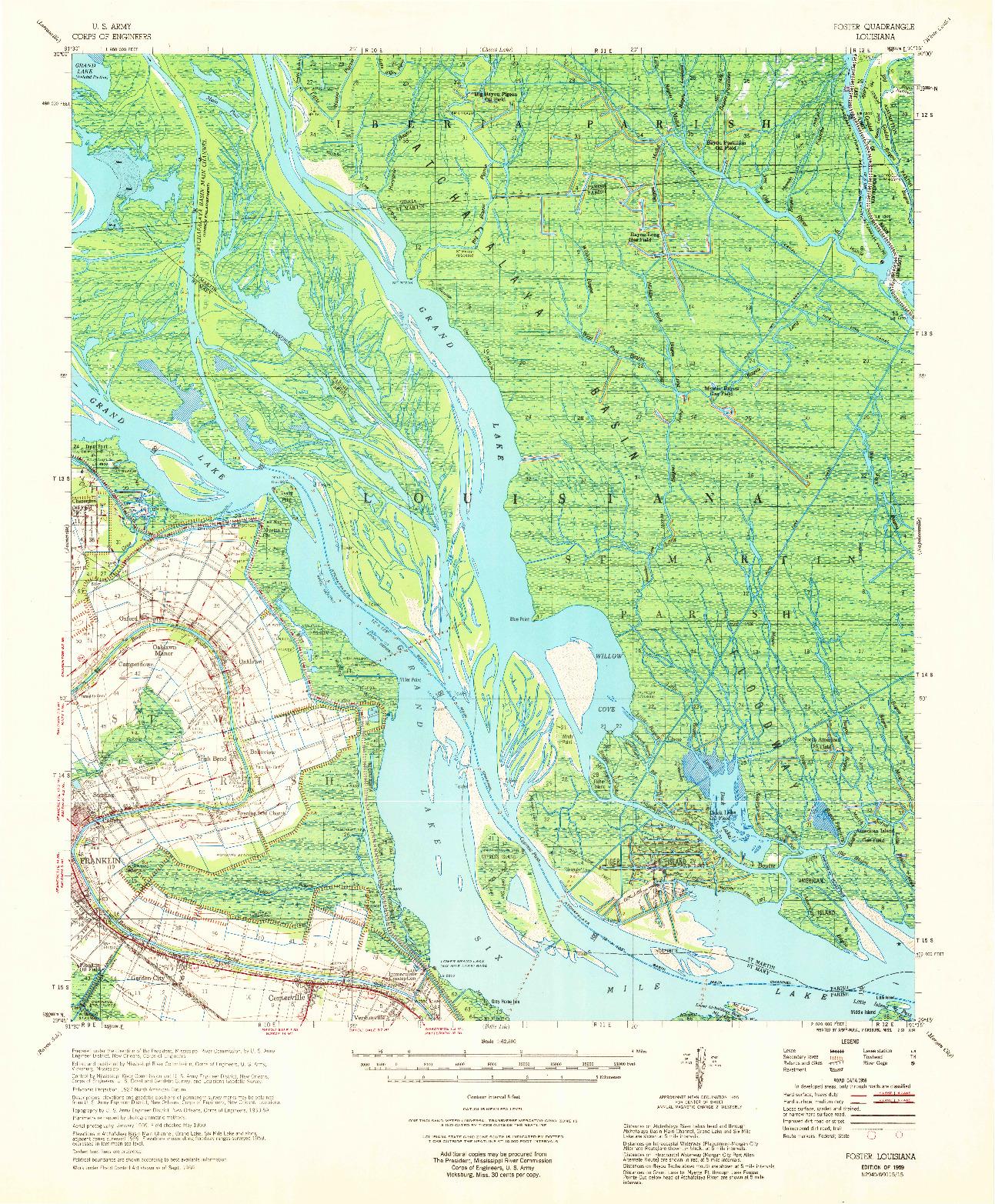 USGS 1:62500-SCALE QUADRANGLE FOR FOSTER, LA 1959