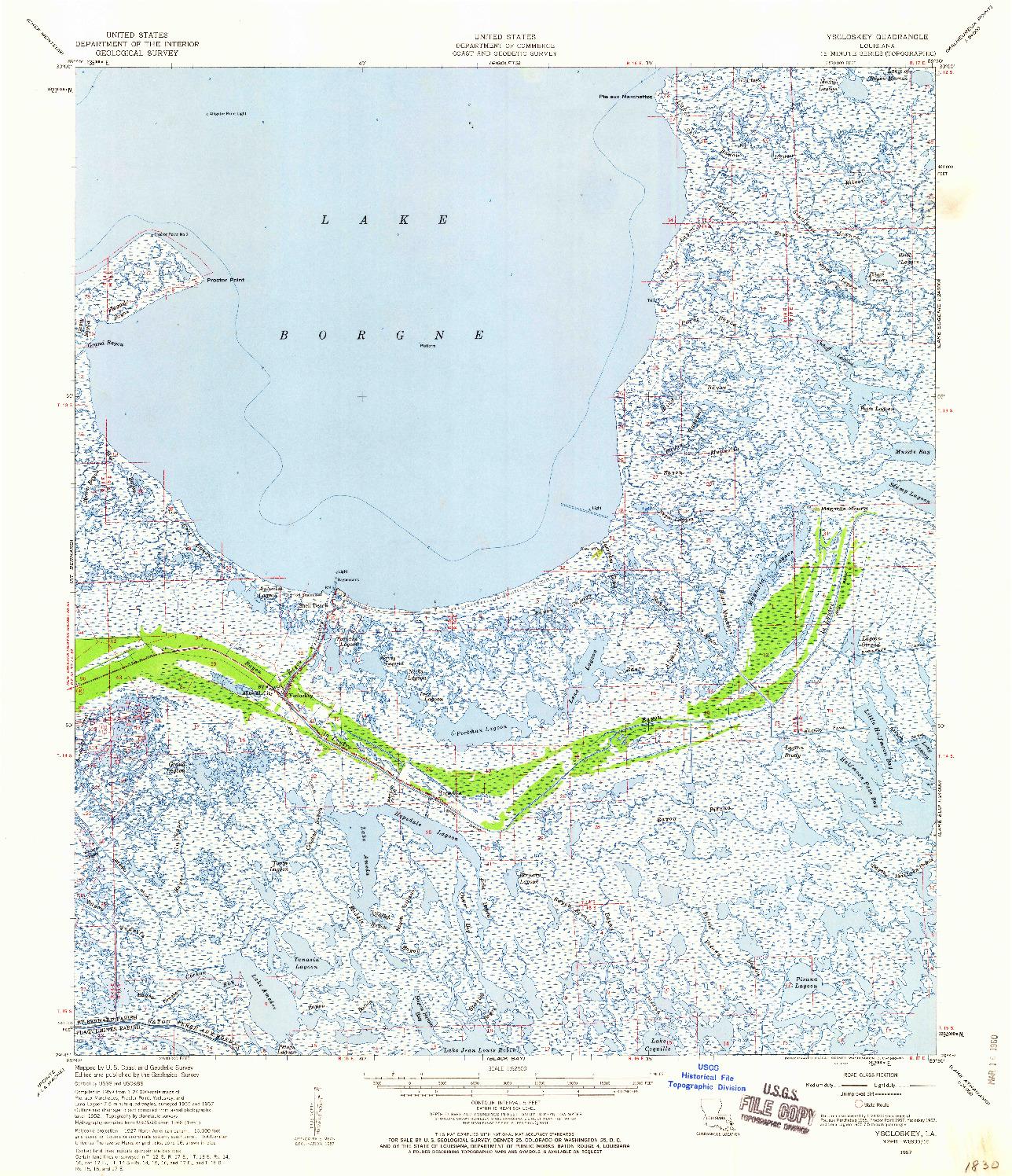 USGS 1:62500-SCALE QUADRANGLE FOR YSCLOSKEY, LA 1957