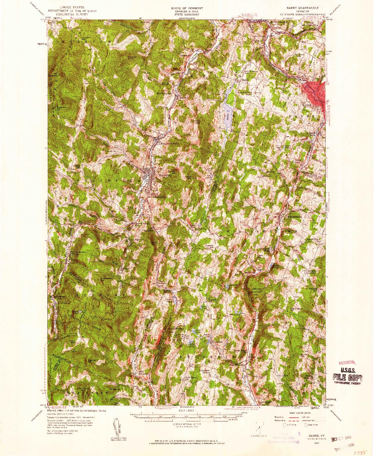 USGS 1:62500-SCALE QUADRANGLE FOR BARRE, VT 1957