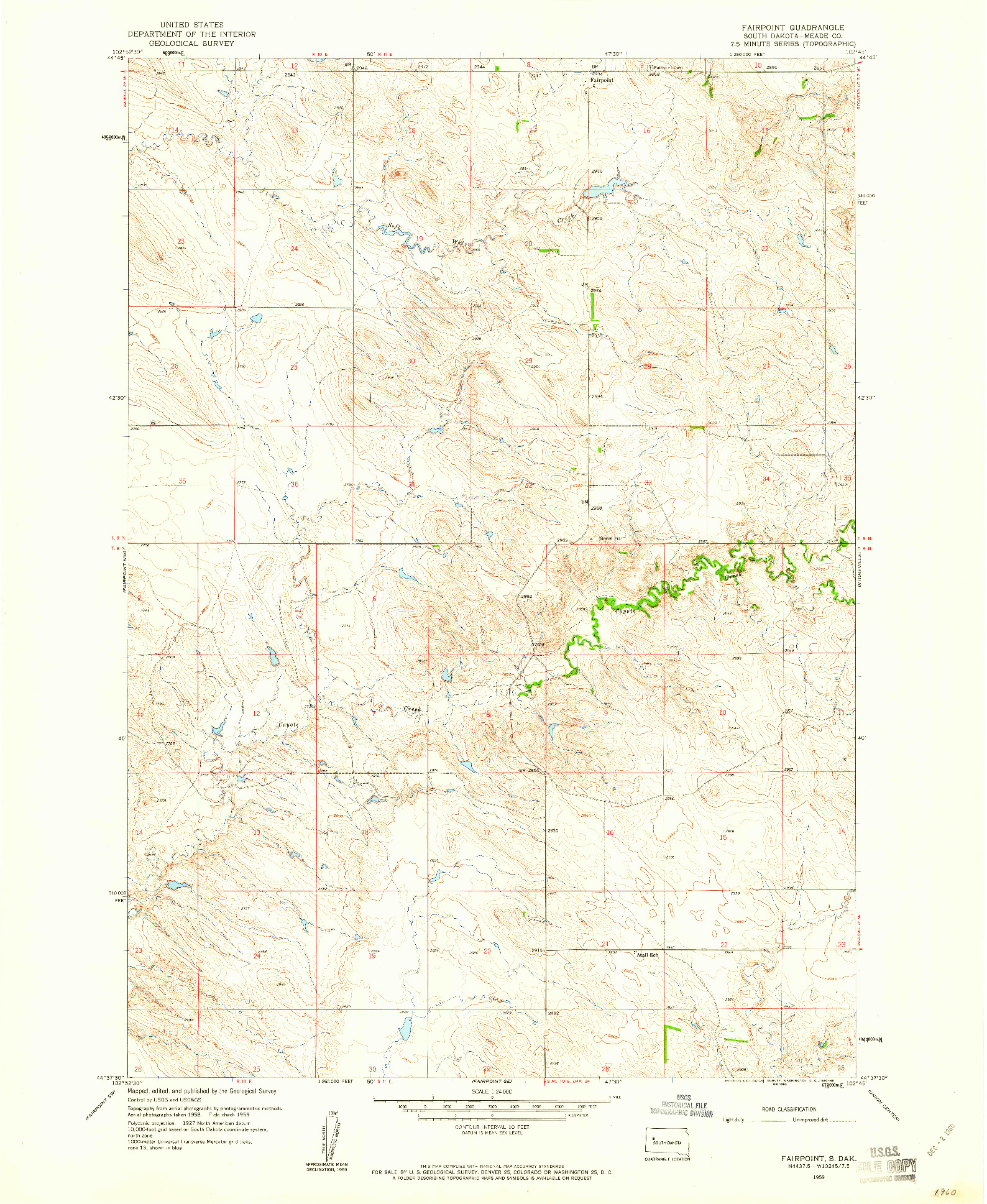 USGS 1:24000-SCALE QUADRANGLE FOR FAIRPOINT, SD 1959