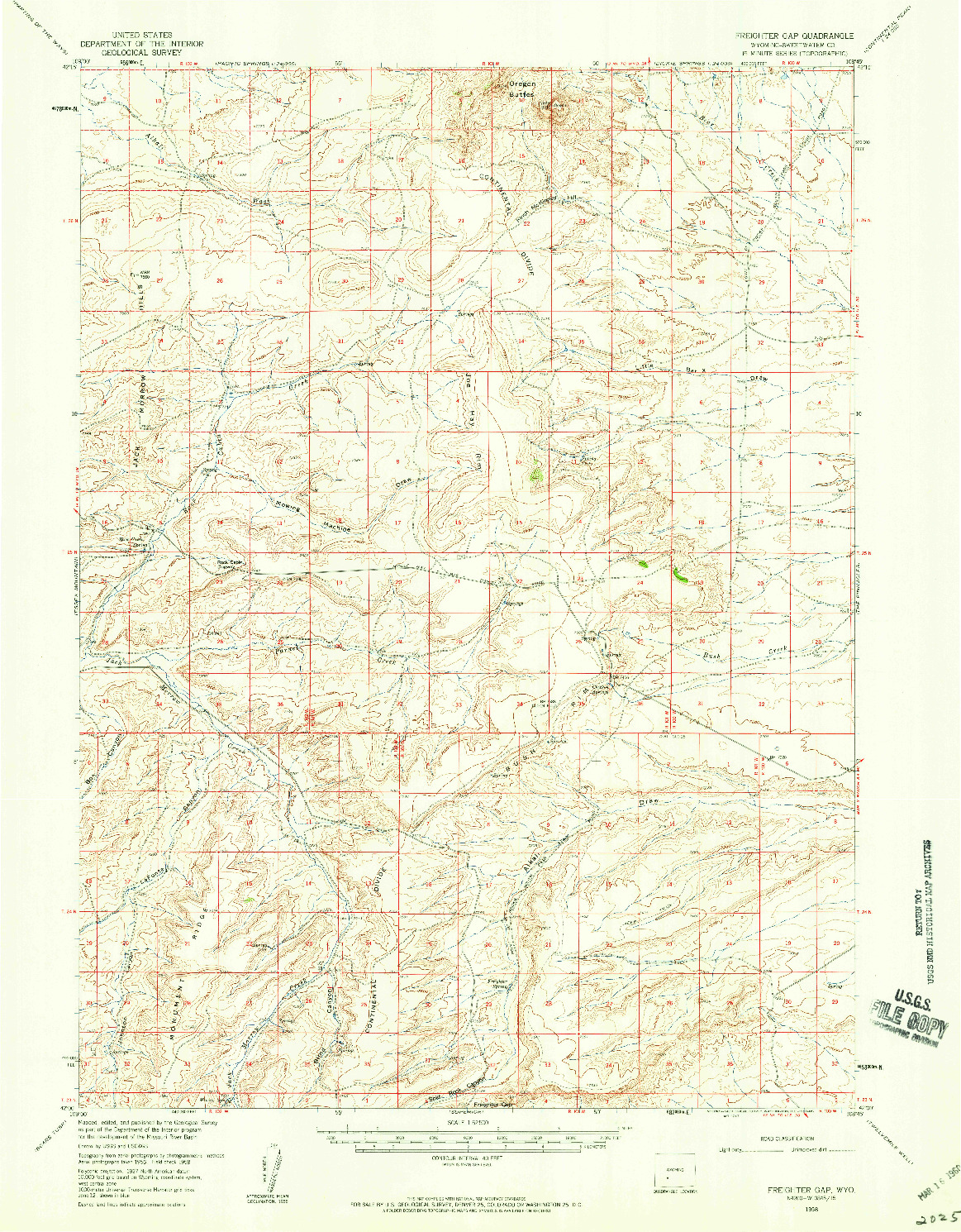 USGS 1:62500-SCALE QUADRANGLE FOR FREIGHTER GAP, WY 1958