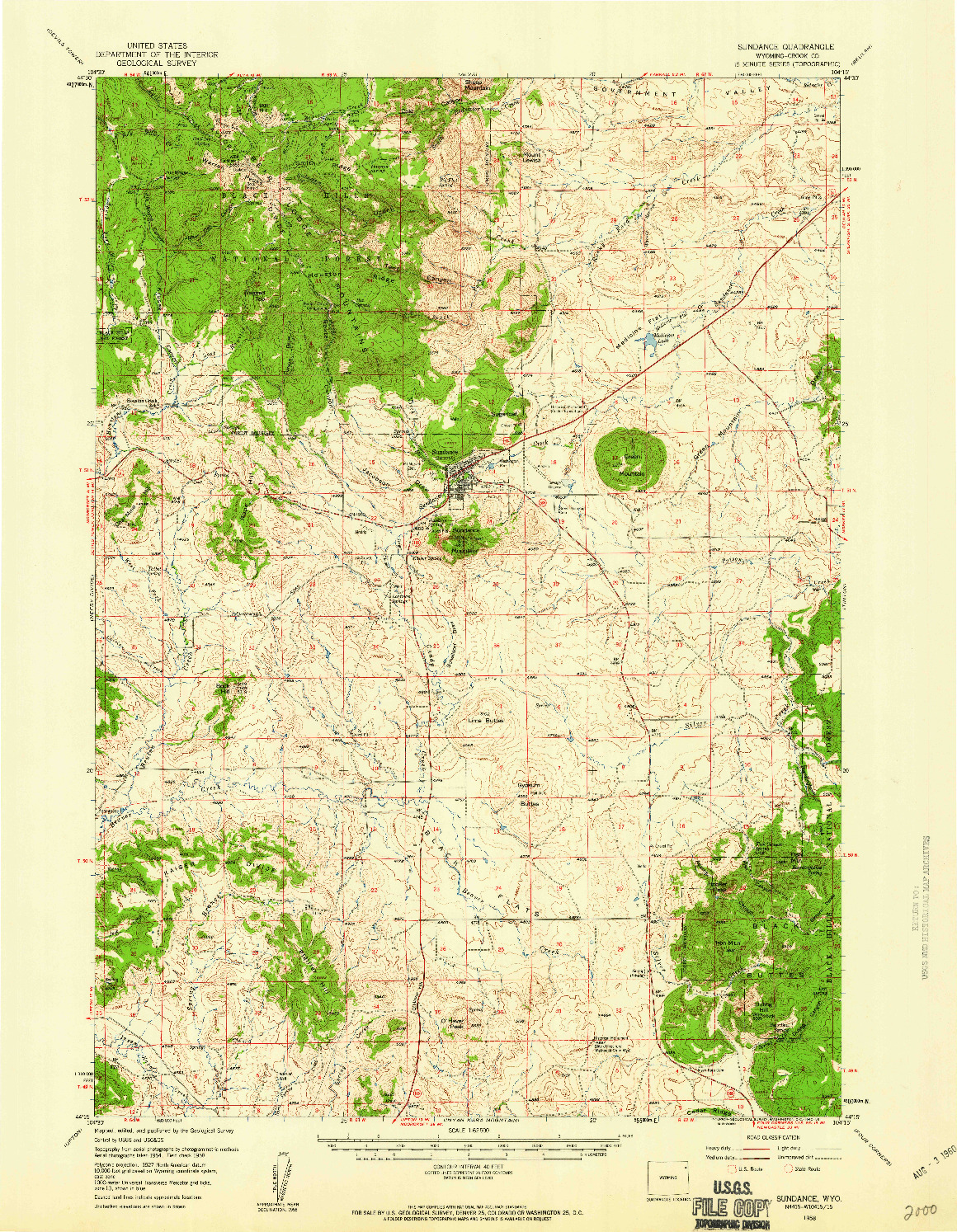 USGS 1:62500-SCALE QUADRANGLE FOR SUNDANCE, WY 1958