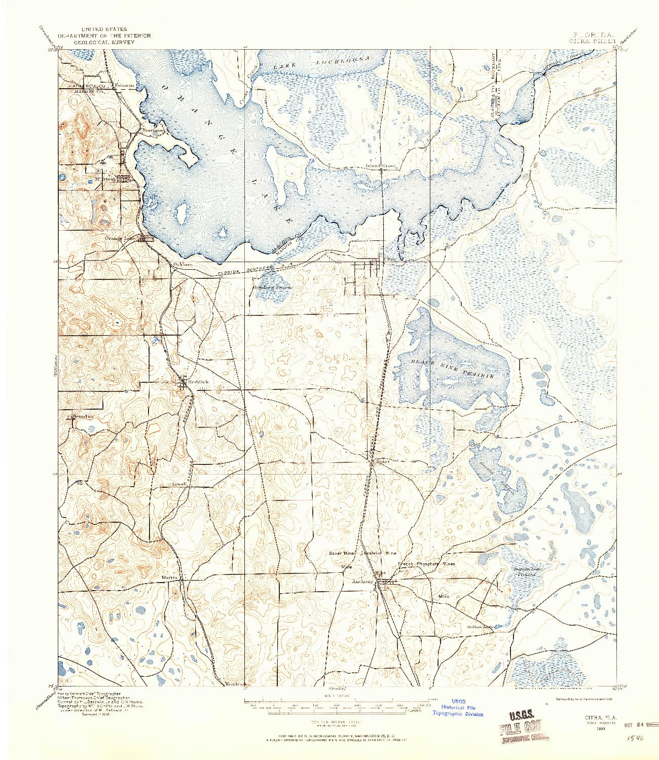 USGS 1:62500-SCALE QUADRANGLE FOR CITRA, FL 1893