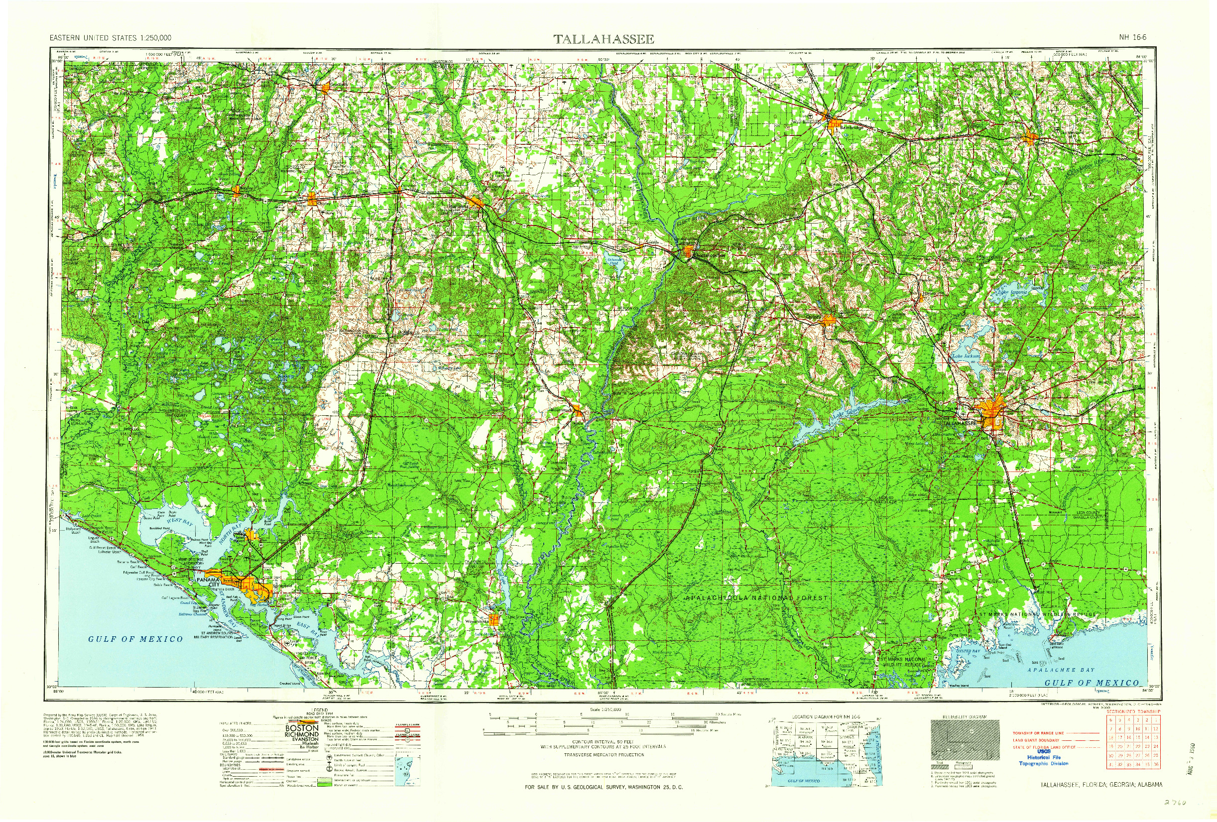 Fl Topographic Map.Usgs 1 250000 Scale Quadrangle For Tallahassee Fl 1960