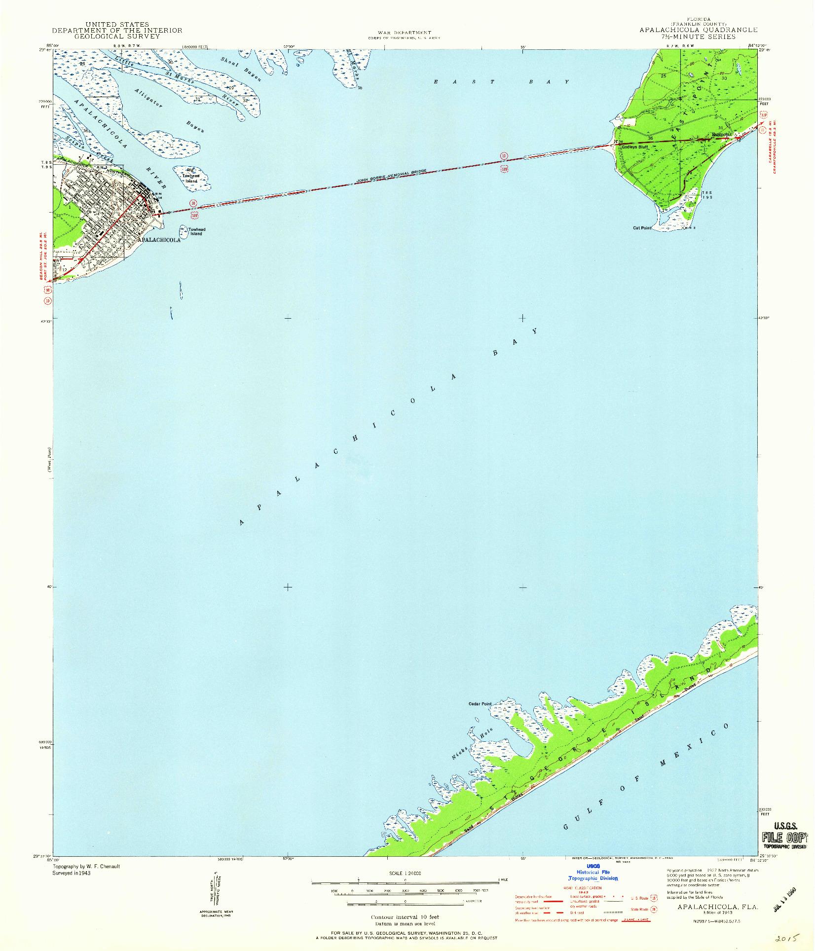 USGS 1:24000-SCALE QUADRANGLE FOR APALACHICOLA, FL 1943
