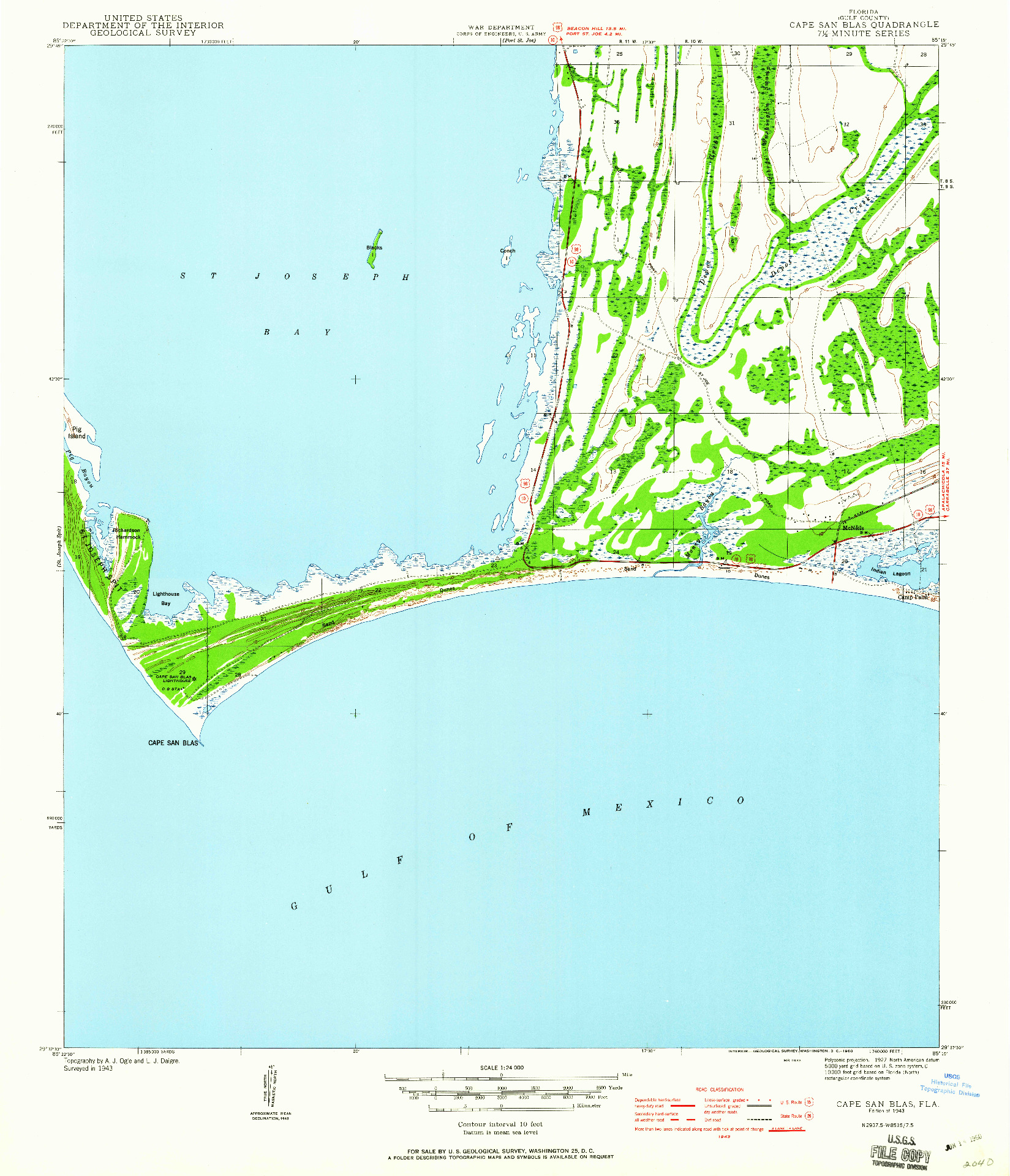 USGS 1:24000-SCALE QUADRANGLE FOR CAPE SAN BLAS, FL 1943