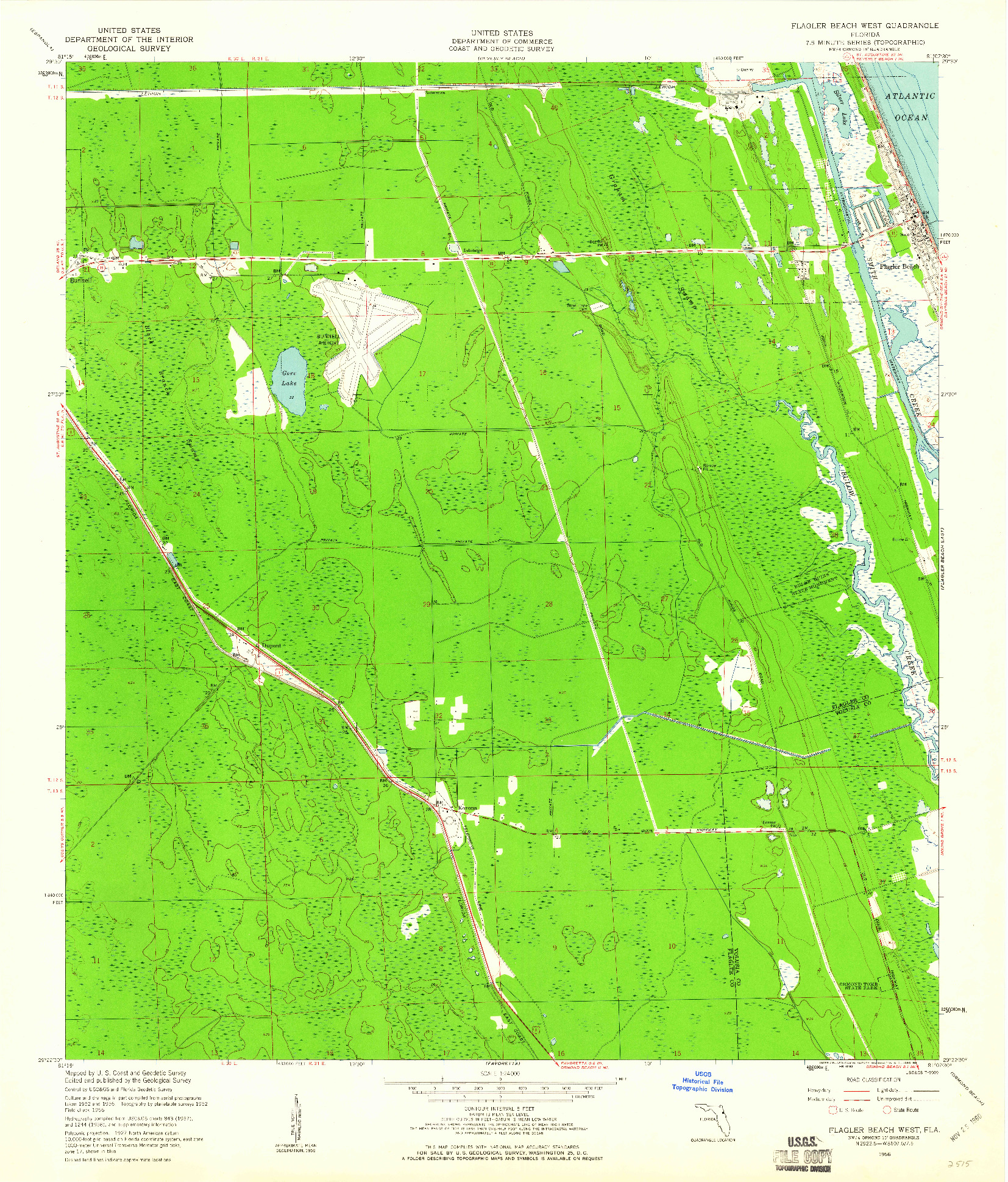 USGS 1:24000-SCALE QUADRANGLE FOR FLAGLER BEACH WEST, FL 1956