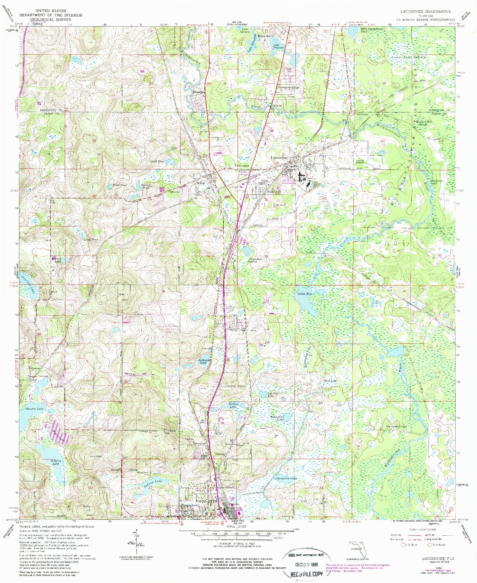 USGS 1:24000-SCALE QUADRANGLE FOR LACOOCHEE, FL 1960