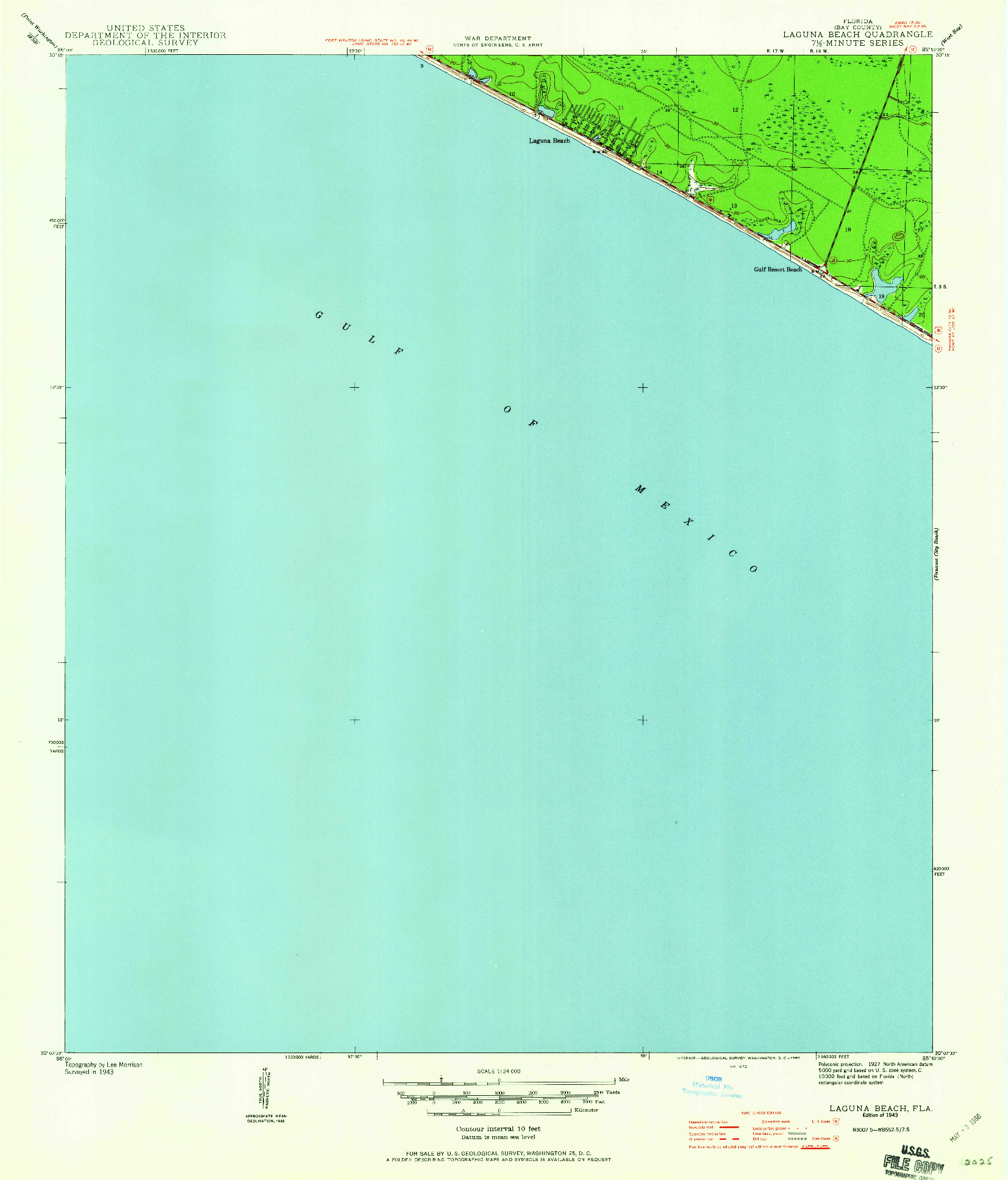 USGS 1:24000-SCALE QUADRANGLE FOR LAGUNA BEACH, FL 1943