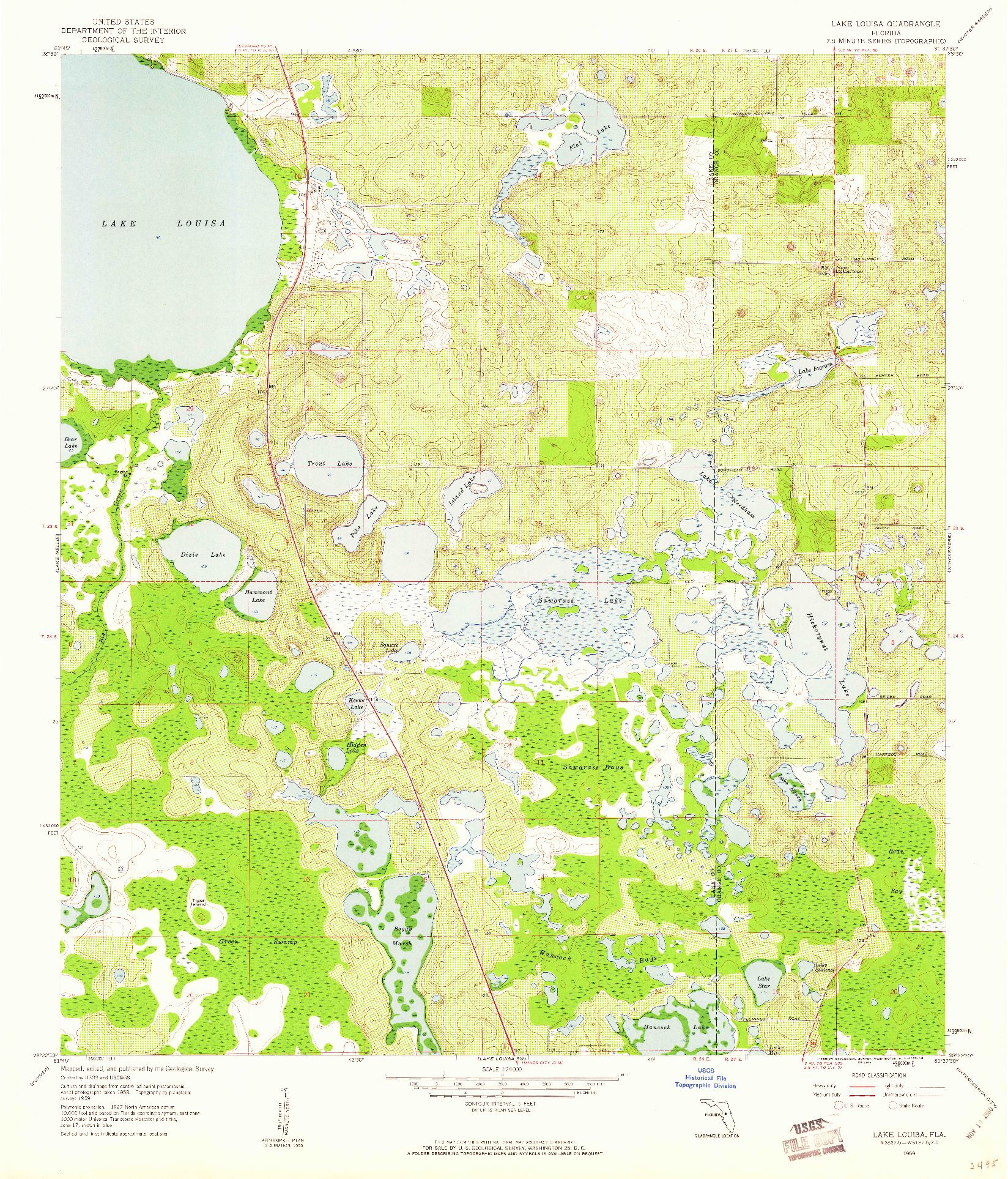 USGS 1:24000-SCALE QUADRANGLE FOR LAKE LOUISA, FL 1959