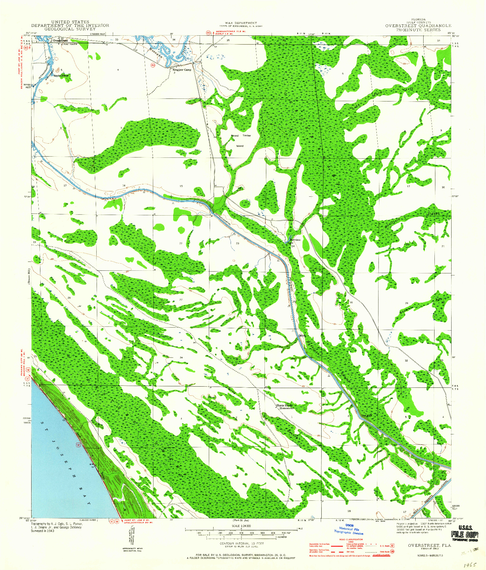 USGS 1:24000-SCALE QUADRANGLE FOR OVERSTREET, FL 1943