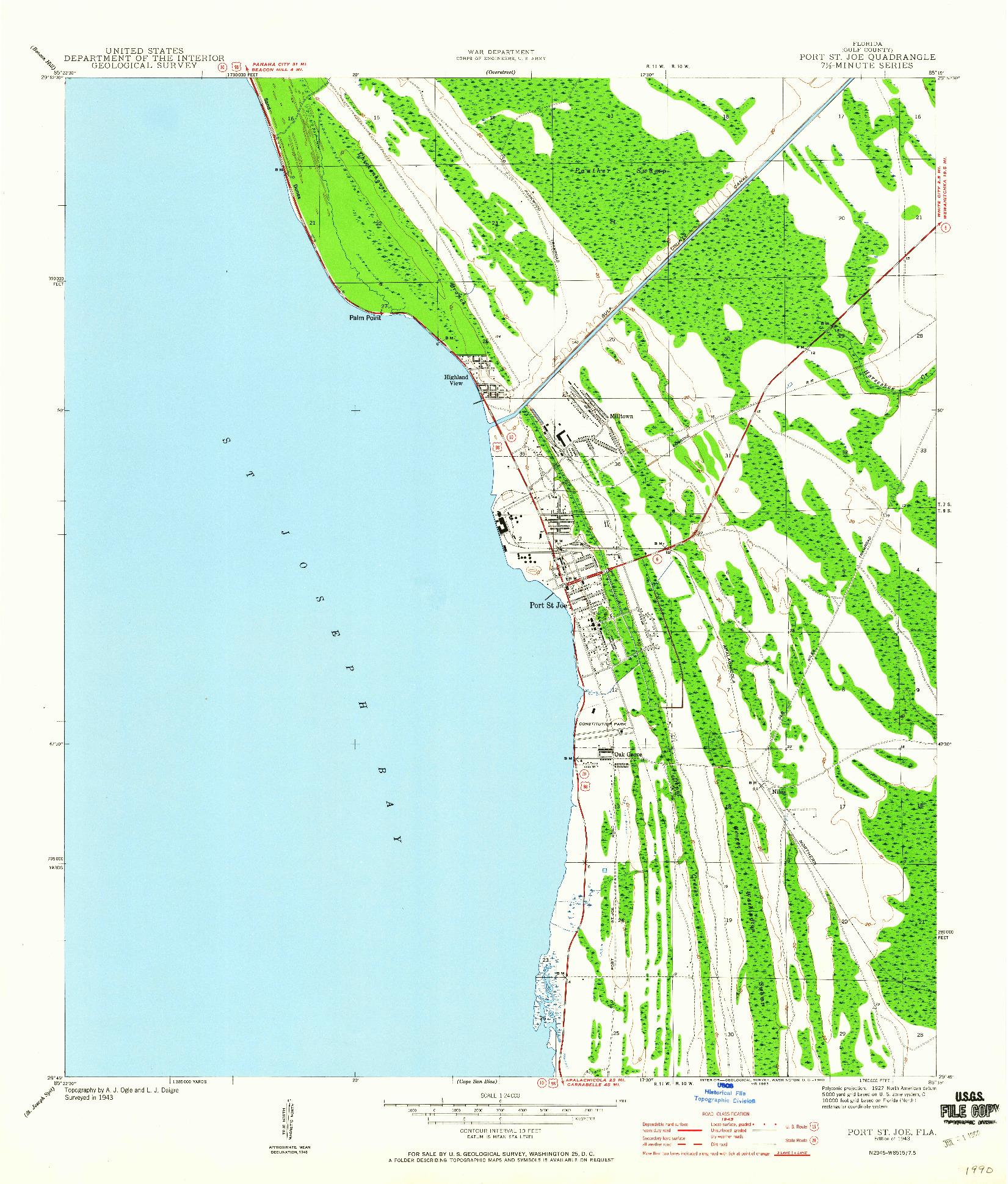USGS 1:24000-SCALE QUADRANGLE FOR PORT ST. JOE, FL 1943