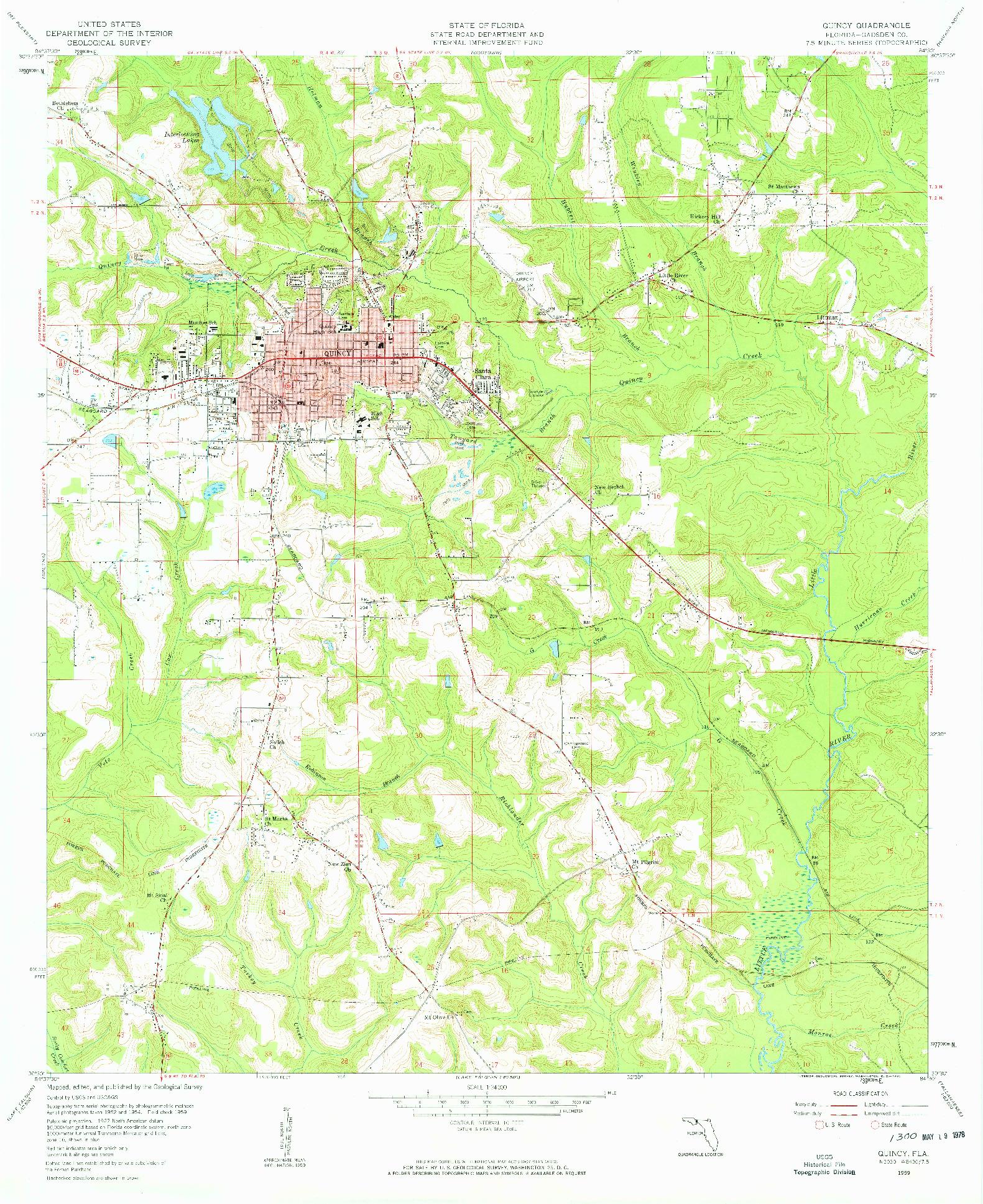 USGS 1:24000-SCALE QUADRANGLE FOR QUINCY, FL 1959