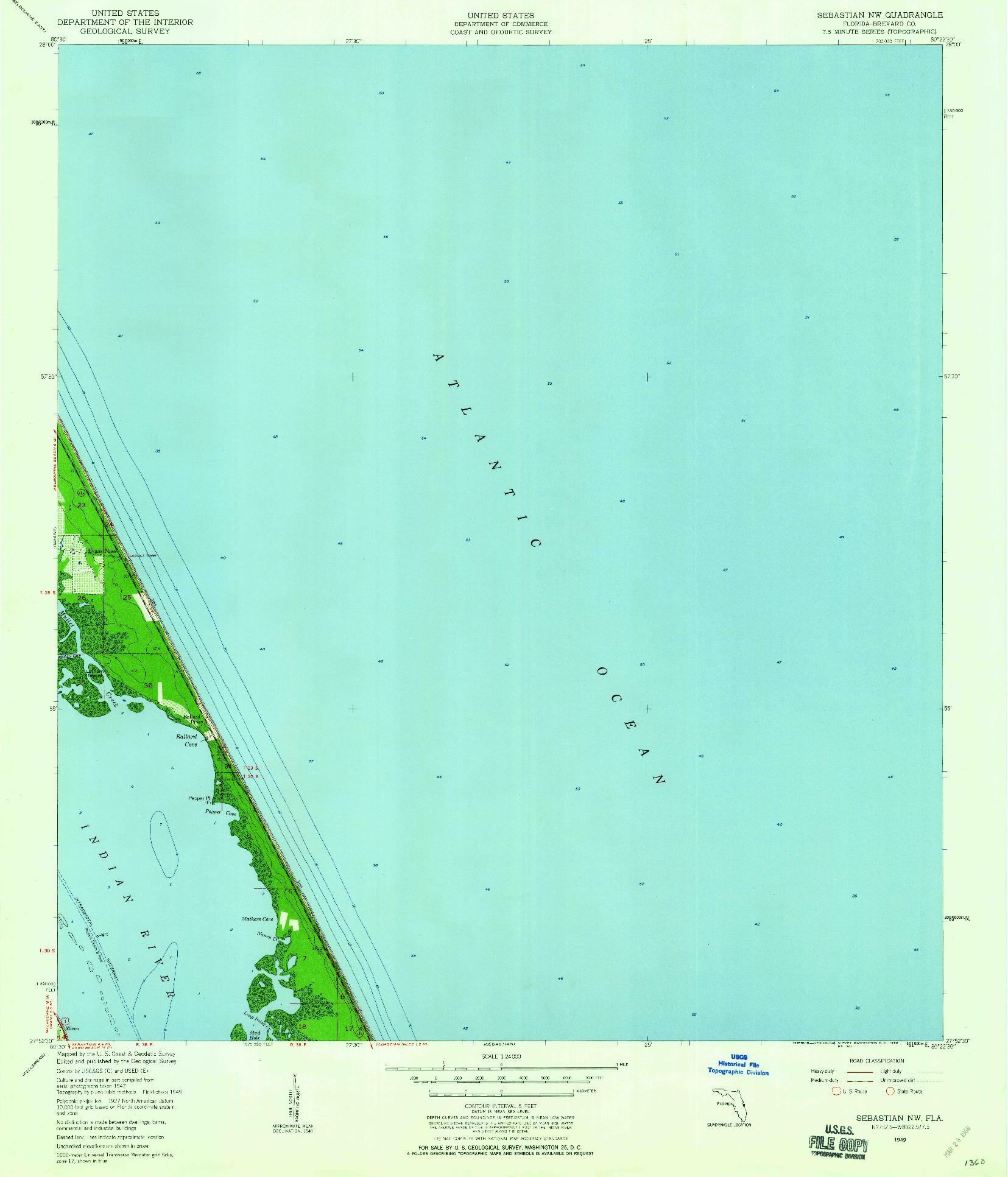 USGS 1:24000-SCALE QUADRANGLE FOR SEBASTIAN NW, FL 1949