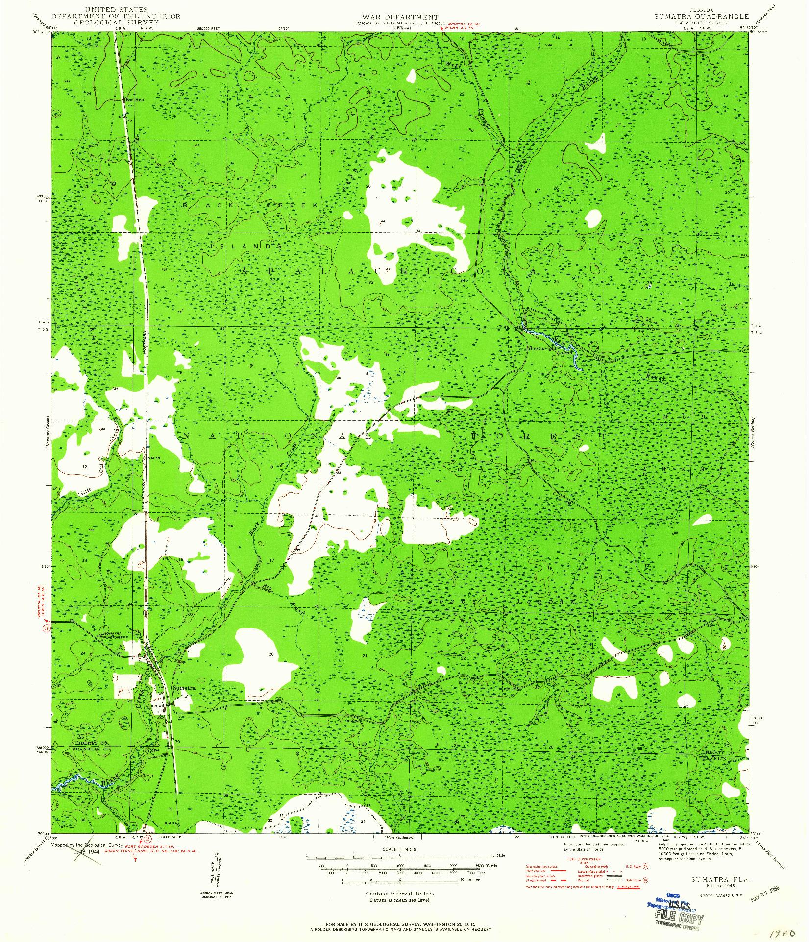 USGS 1:24000-SCALE QUADRANGLE FOR SUMATRA, FL 1946