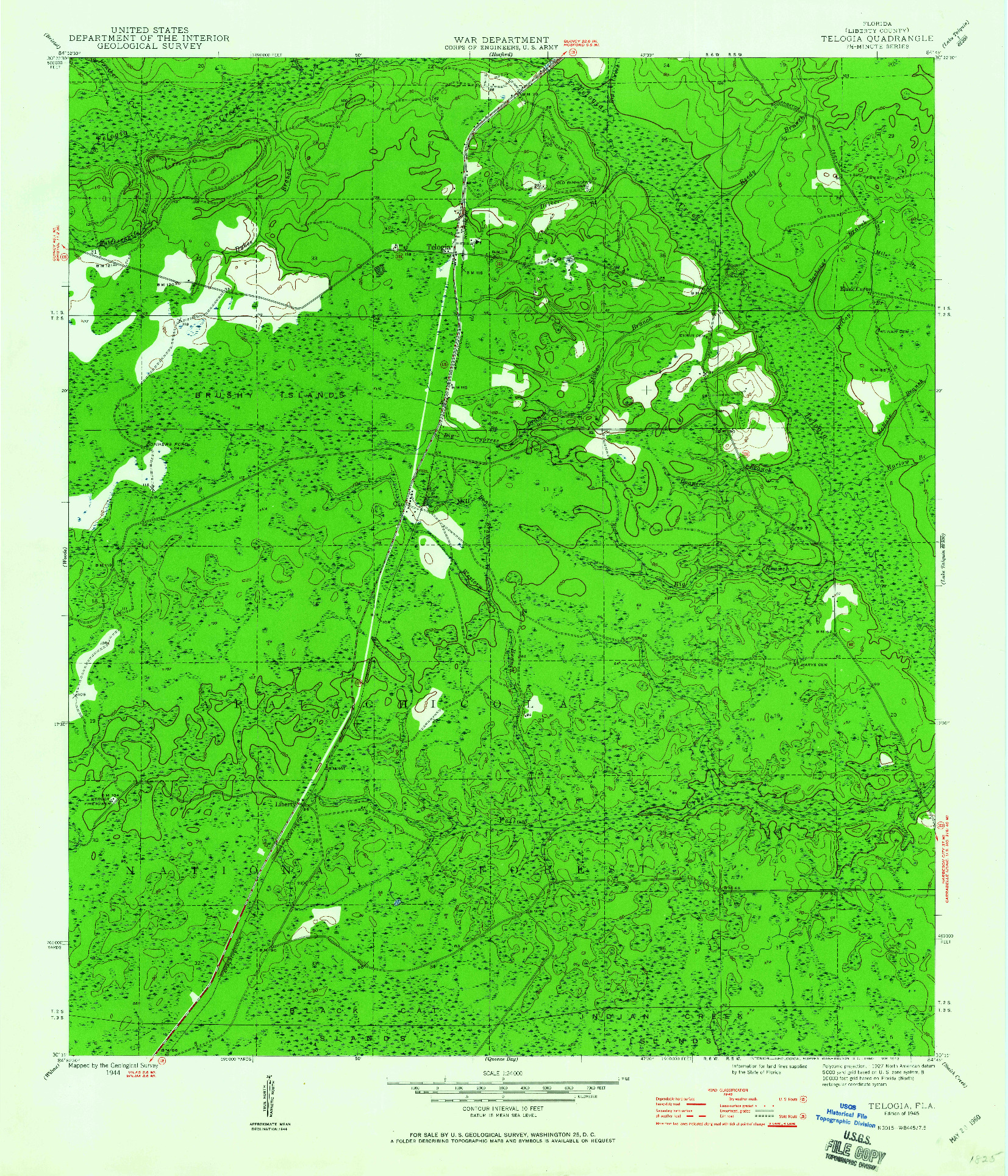 USGS 1:24000-SCALE QUADRANGLE FOR TELOGIA, FL 1945