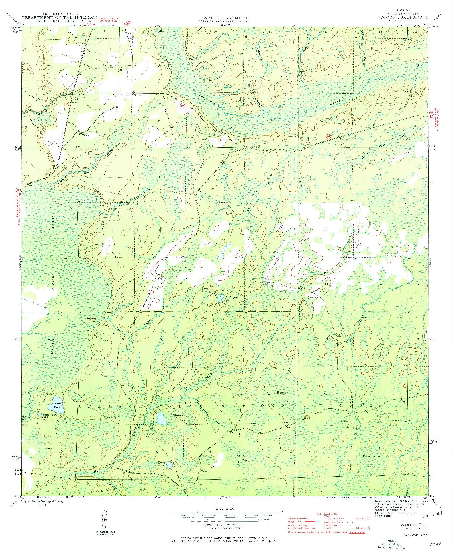 USGS 1:24000-SCALE QUADRANGLE FOR WOODS, FL 1945