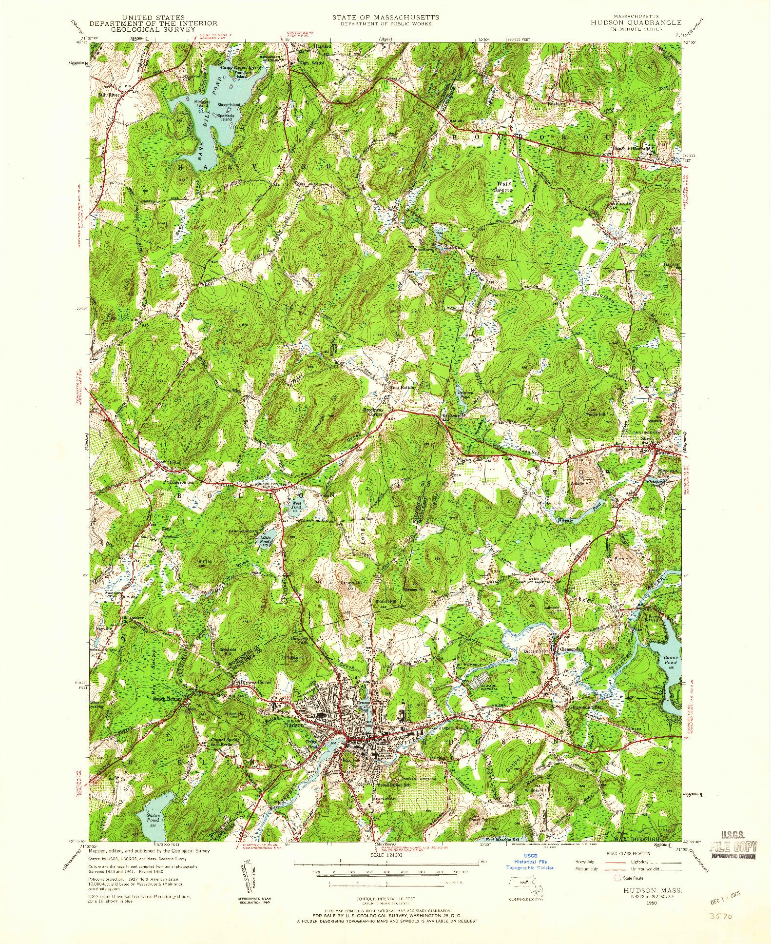 USGS 1:24000-SCALE QUADRANGLE FOR HUDSON, MA 1950
