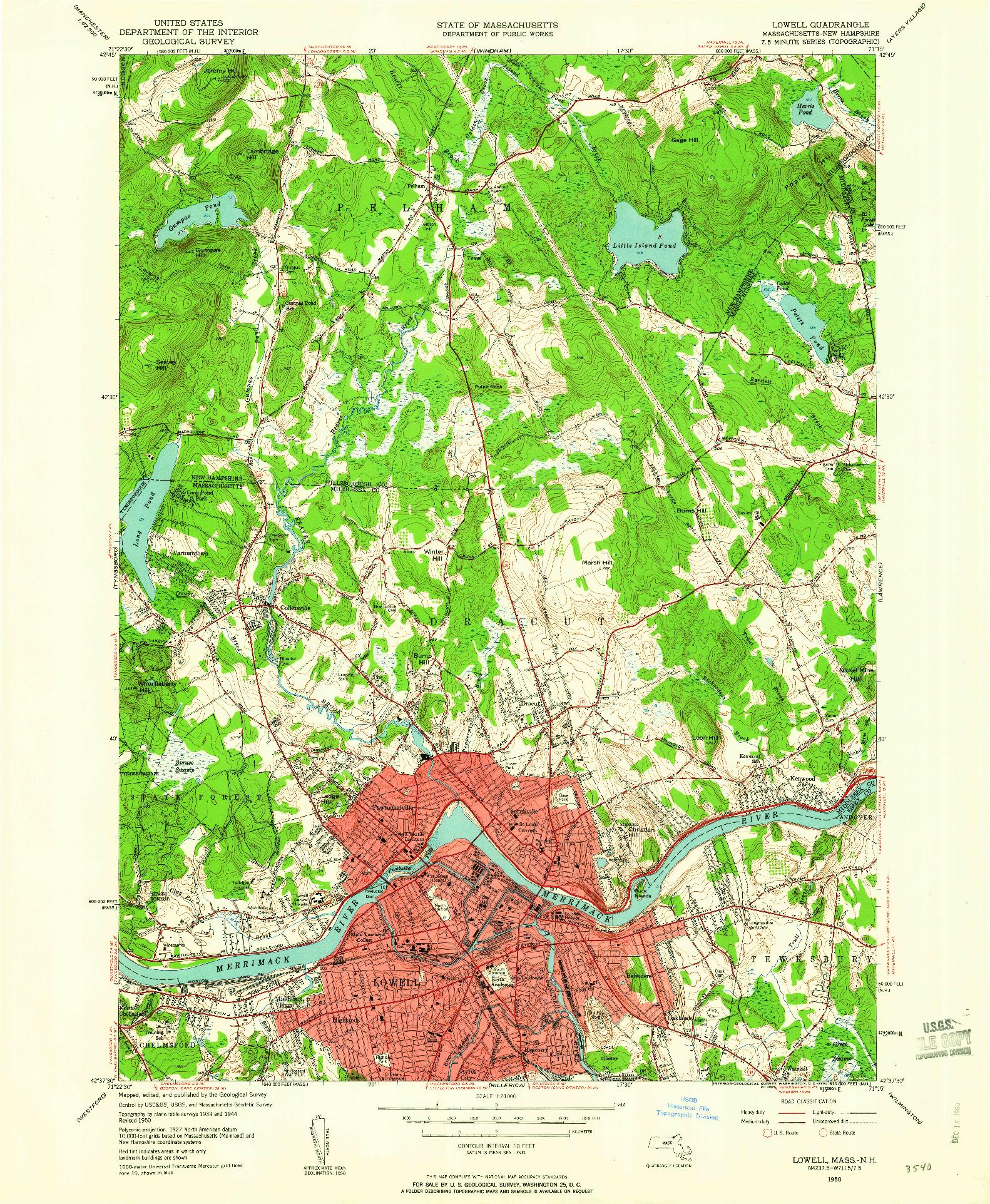 USGS 1:24000-SCALE QUADRANGLE FOR LOWELL, MA 1950