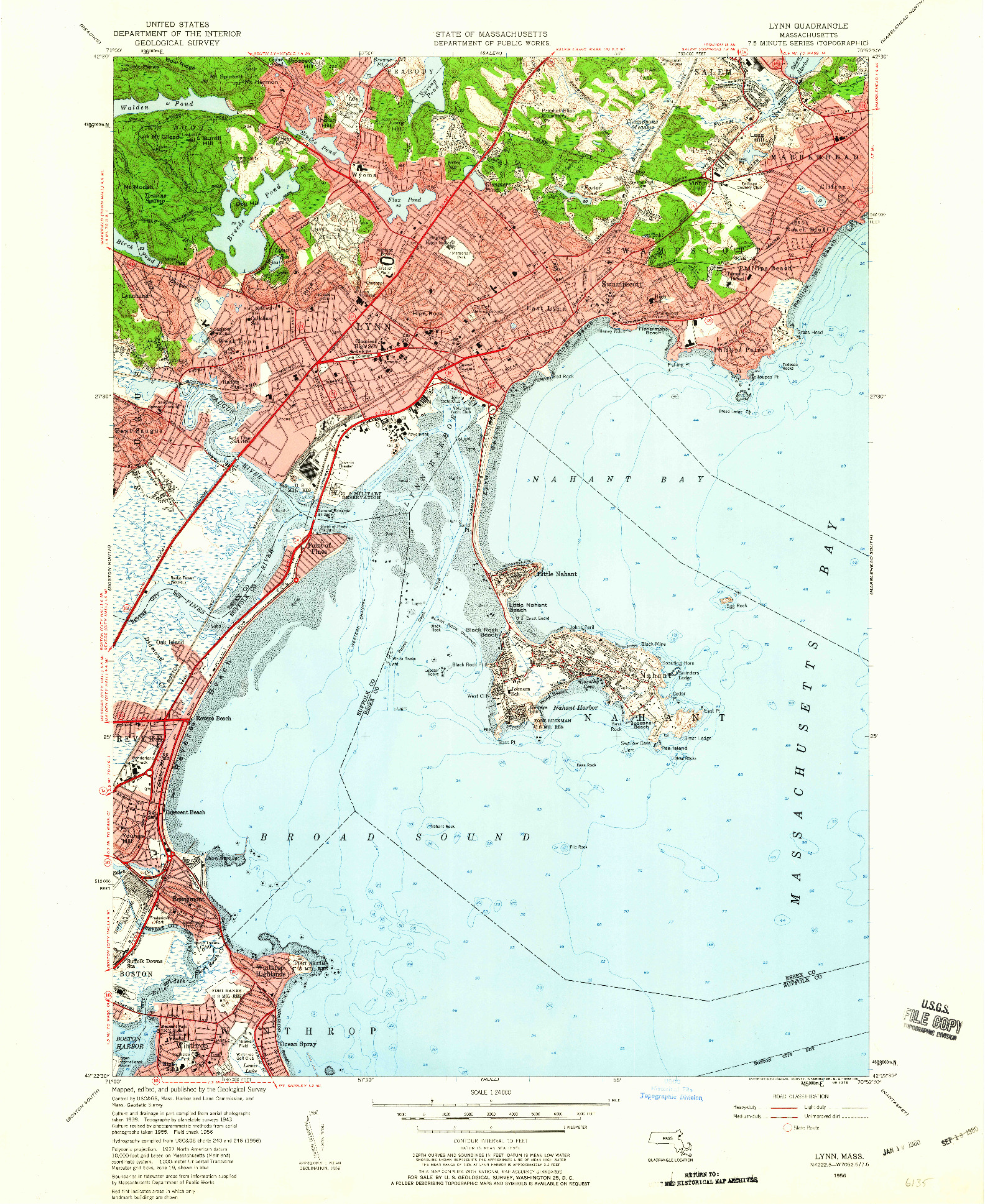 USGS 1:24000-SCALE QUADRANGLE FOR LYNN, MA 1956