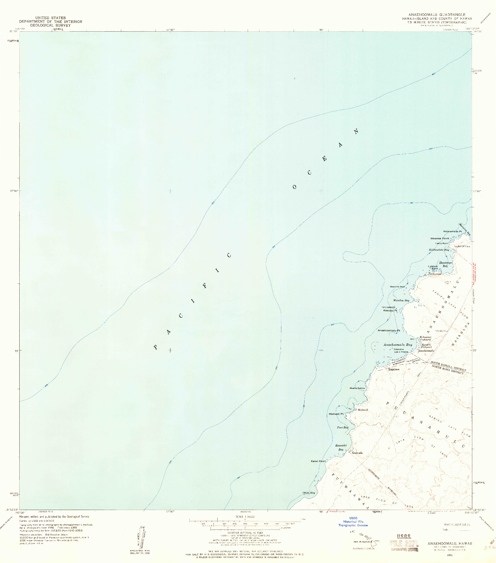 USGS 1:24000-SCALE QUADRANGLE FOR ANAEHOOMALU, HI 1959