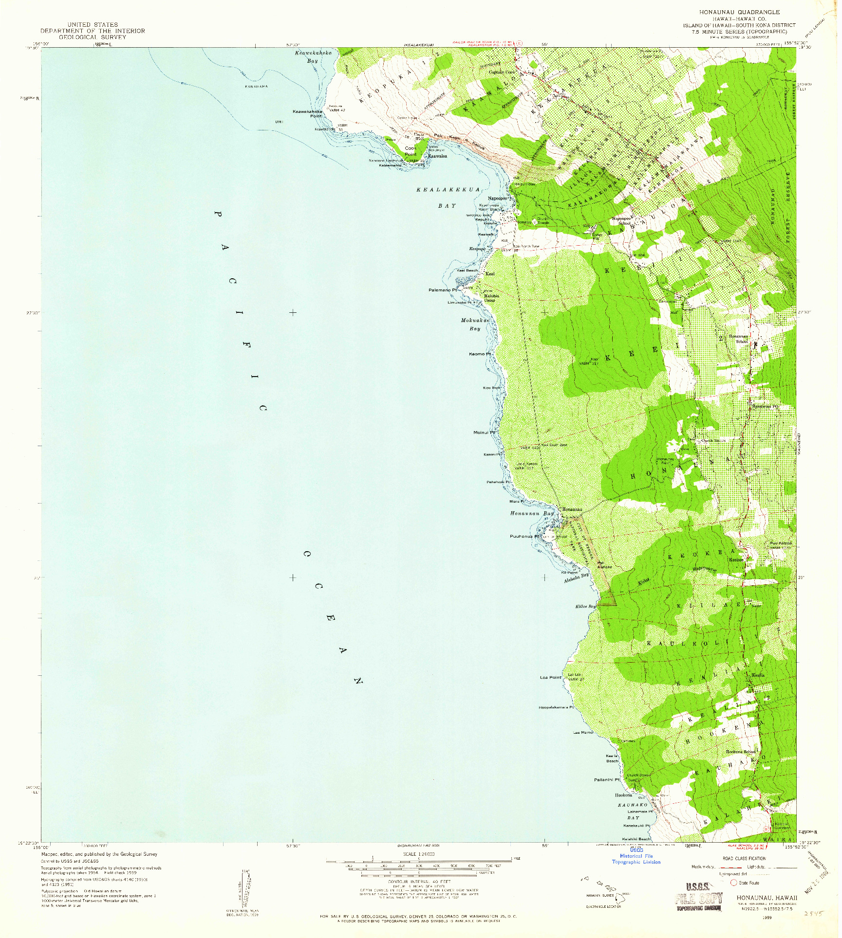 USGS 1:24000-SCALE QUADRANGLE FOR HONAUNAU, HI 1959