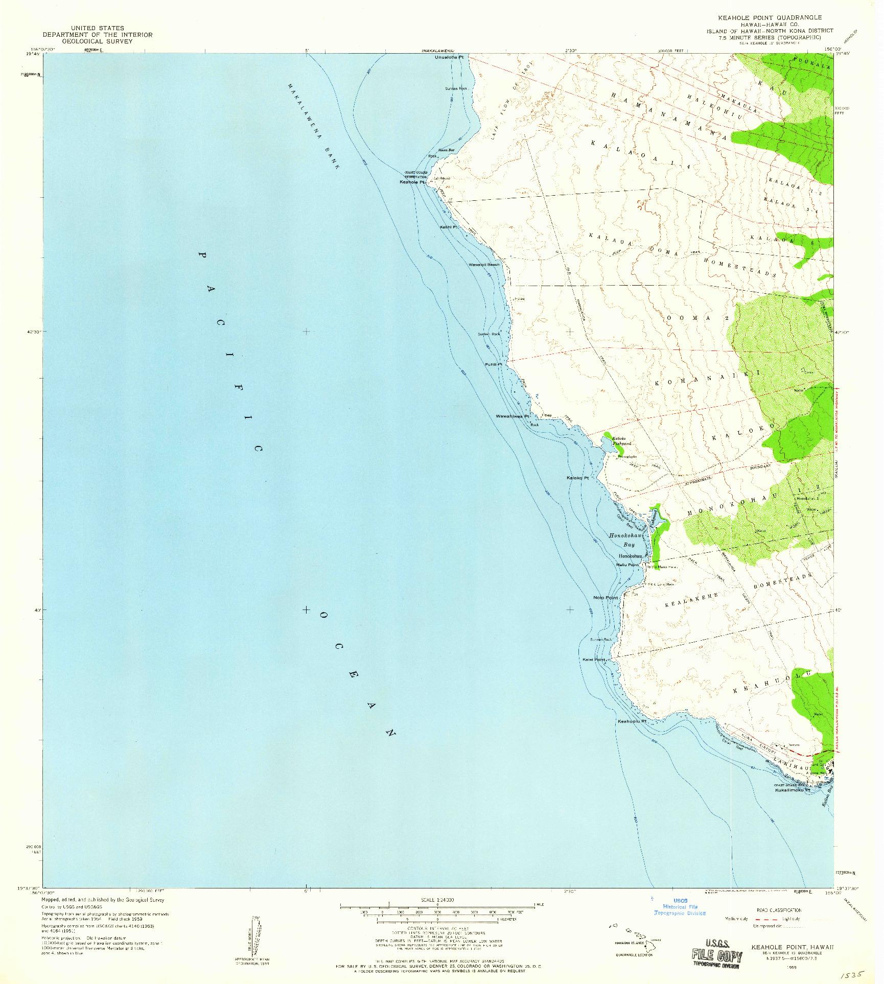 USGS 1:24000-SCALE QUADRANGLE FOR KEAHOLE POINT, HI 1959