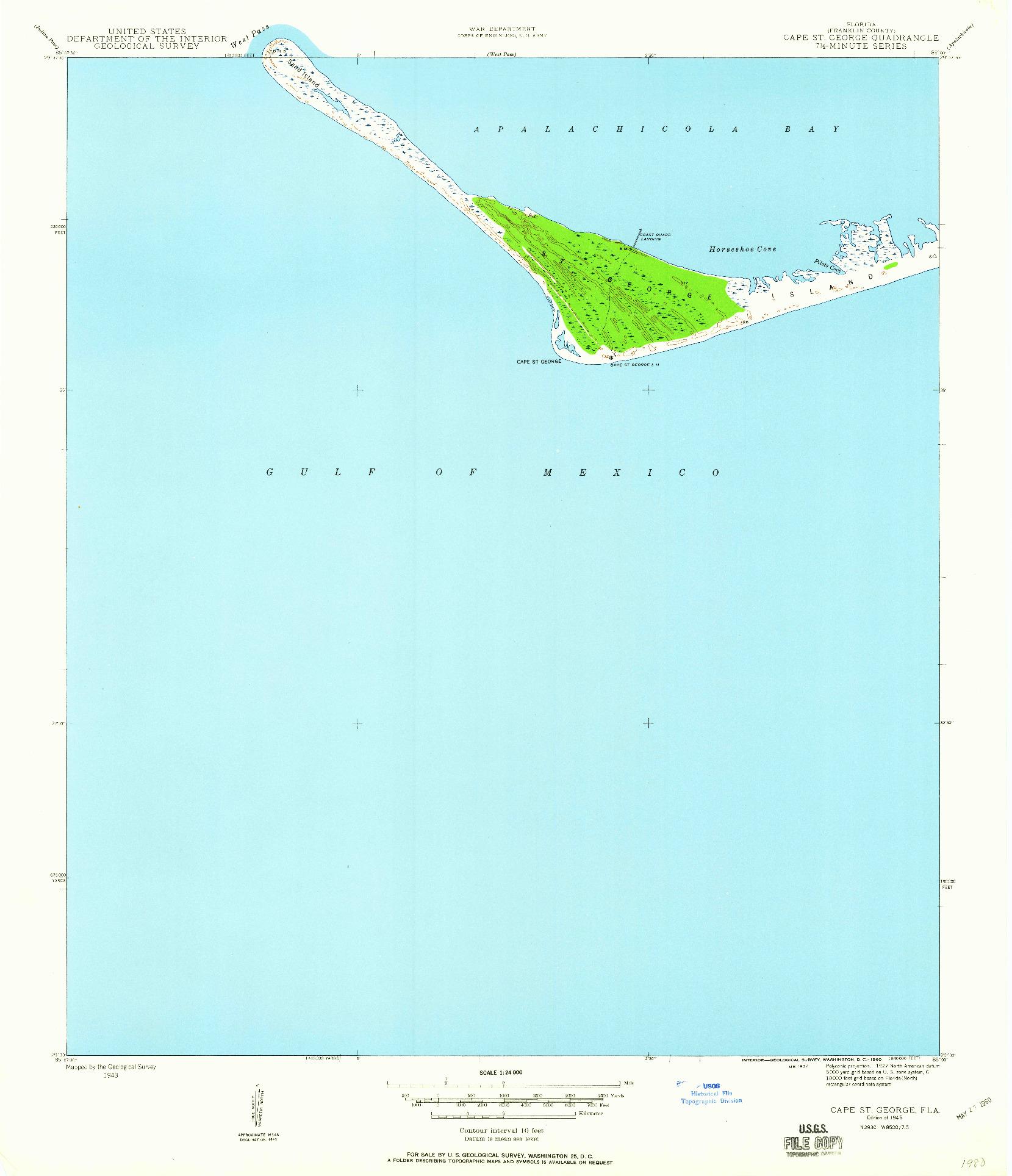 USGS 1:24000-SCALE QUADRANGLE FOR CAPE ST. GEORGE, FL 1945