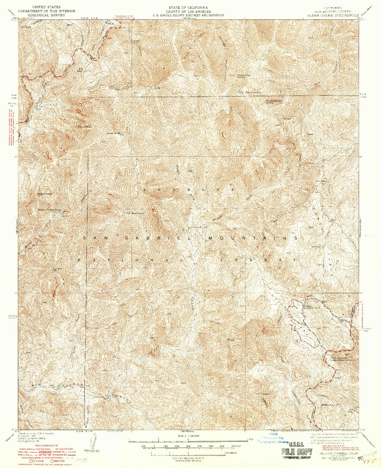 USGS 1:24000-SCALE QUADRANGLE FOR ALDER CREEK, CA 1941