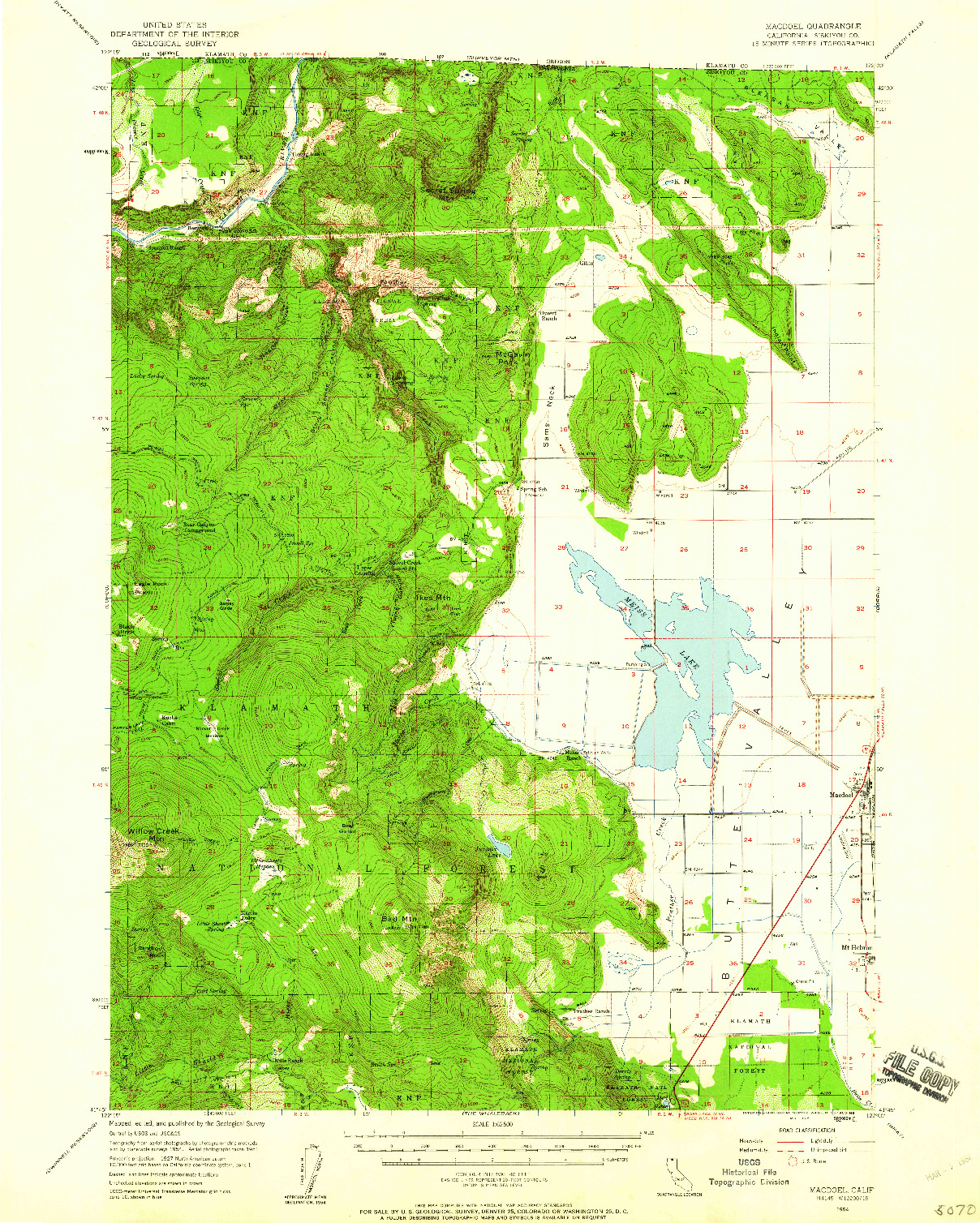 USGS 1:62500-SCALE QUADRANGLE FOR MACDOEL, CA 1954