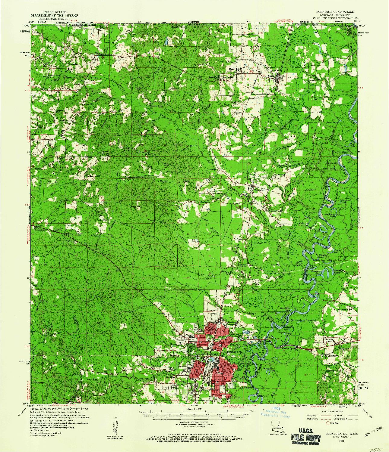 USGS 1:62500-SCALE QUADRANGLE FOR BOGALUSA, LA 1959