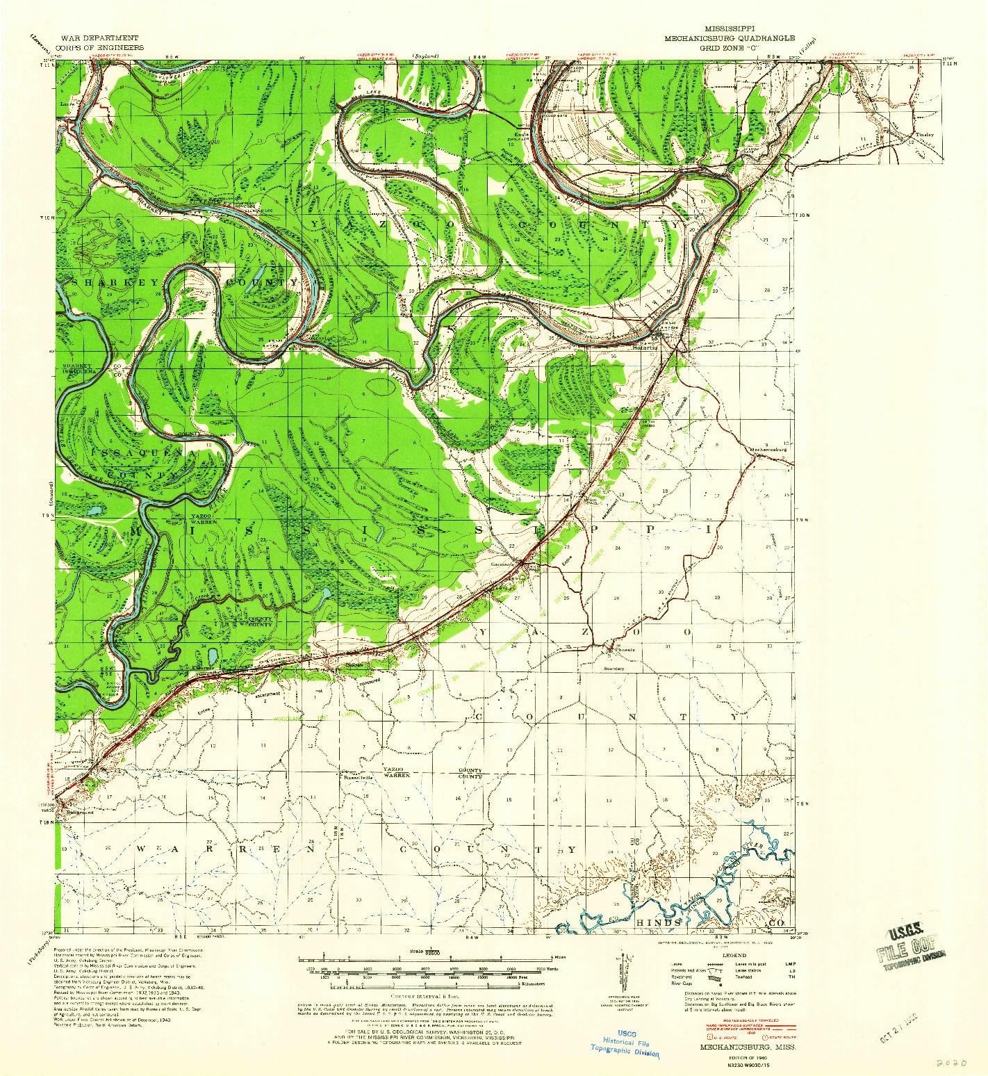 USGS 1:62500-SCALE QUADRANGLE FOR MECHANICSBURG, MS 1940