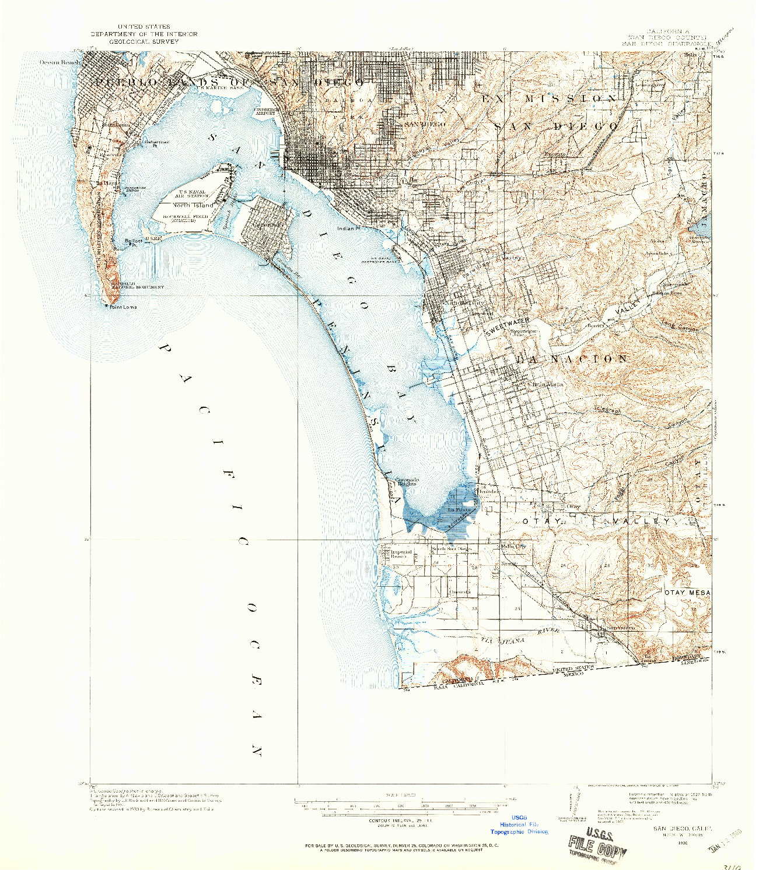 USGS 1:62500-SCALE QUADRANGLE FOR SAN DIEGO, CA 1930