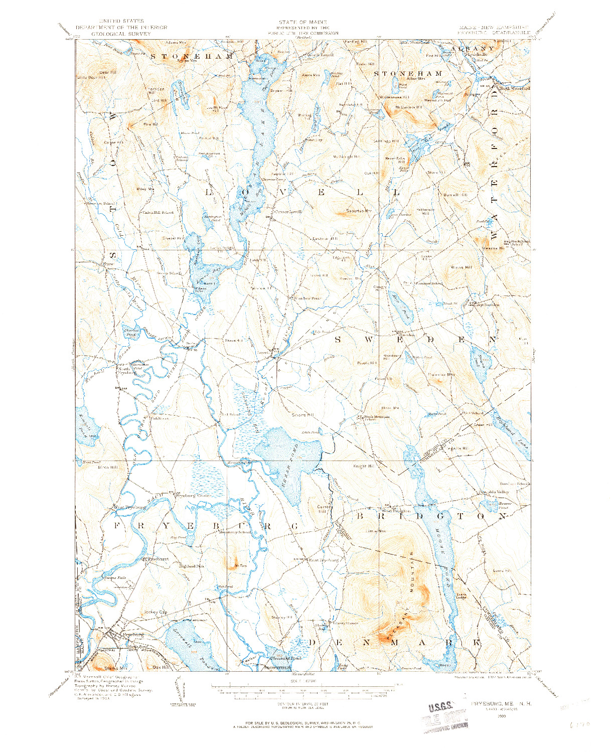 USGS 1:62500-SCALE QUADRANGLE FOR FRYEBURG, ME 1909