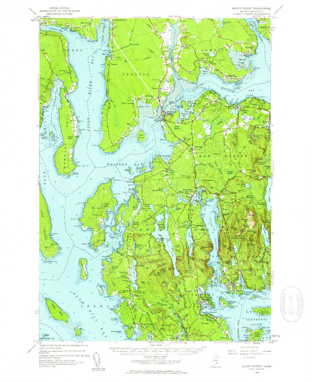 USGS 1:62500-SCALE QUADRANGLE FOR MOUNT DESERT, ME 1956
