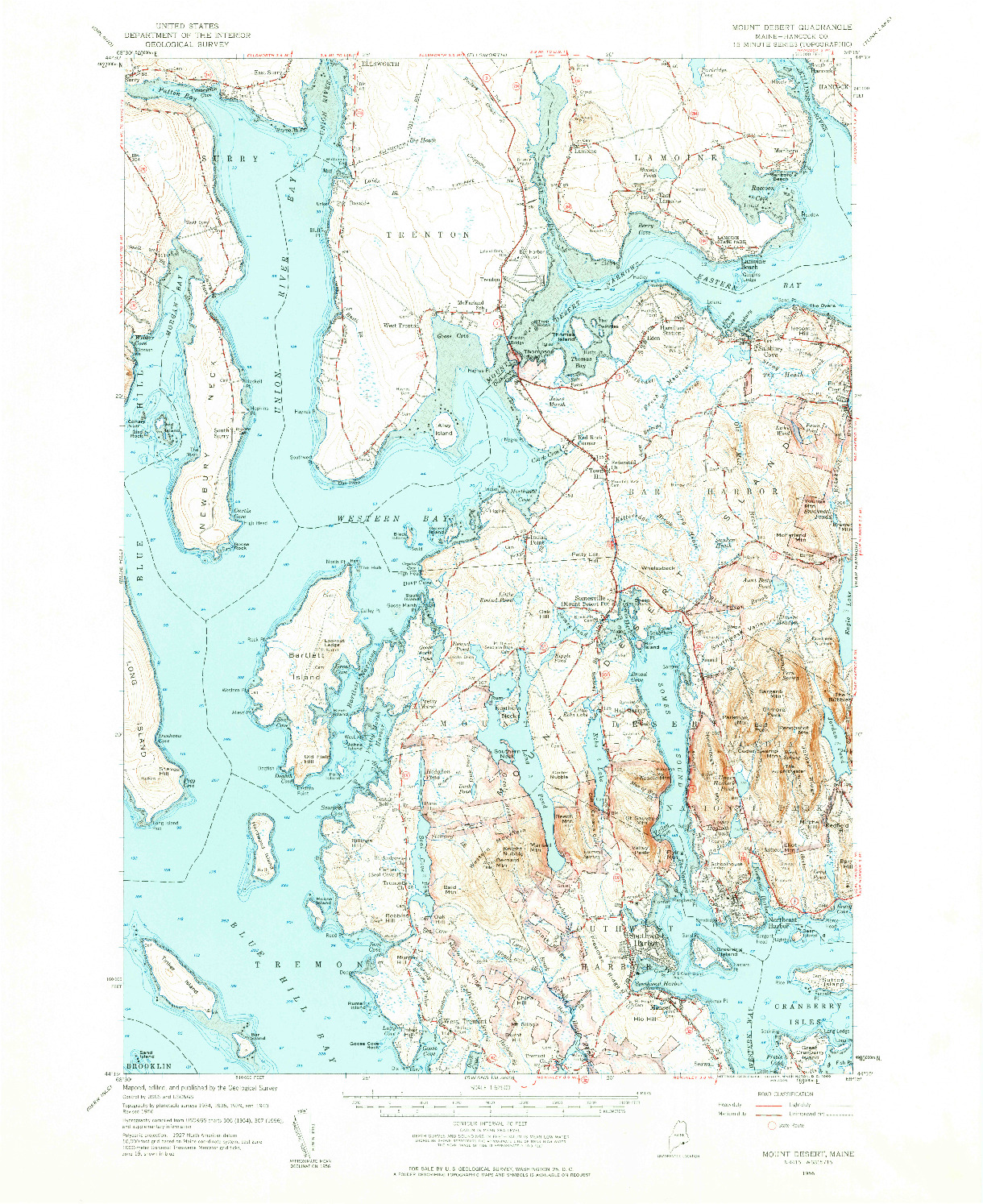 USGS 1:62500-SCALE QUADRANGLE FOR MOUNT DESERT, ME 1956
